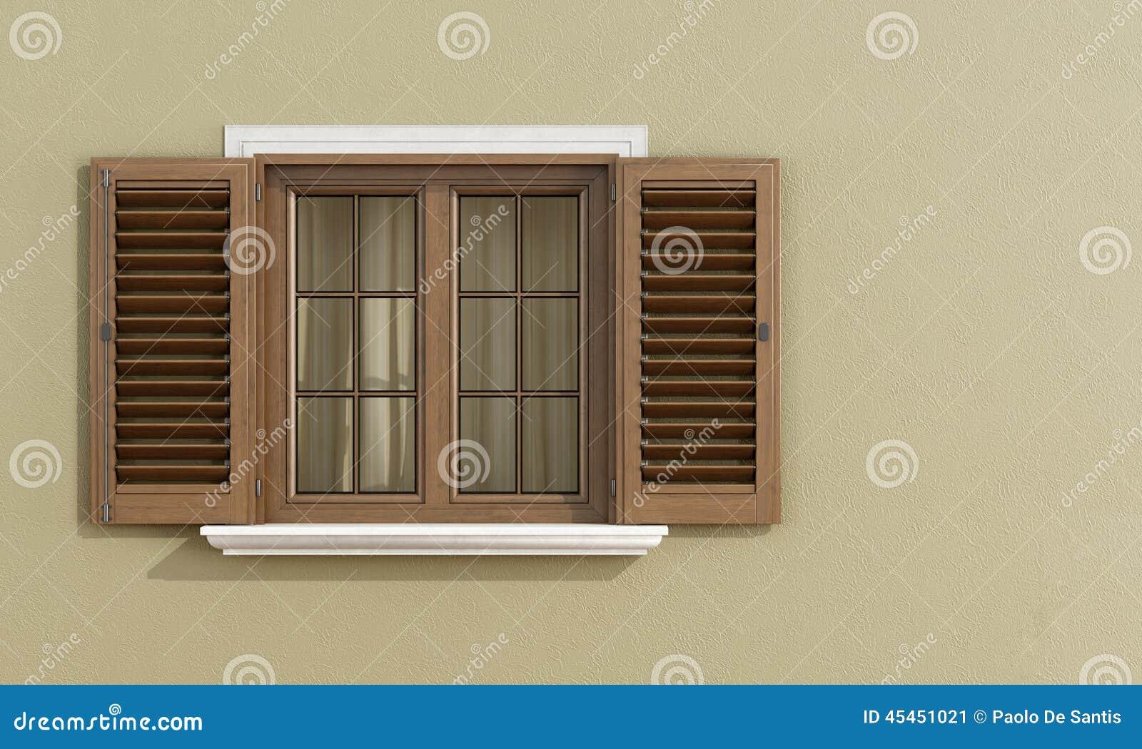 Detalle de una ventana de madera