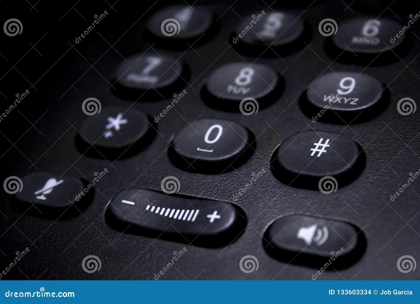 Detalle negro del telclado numérico del teléfono