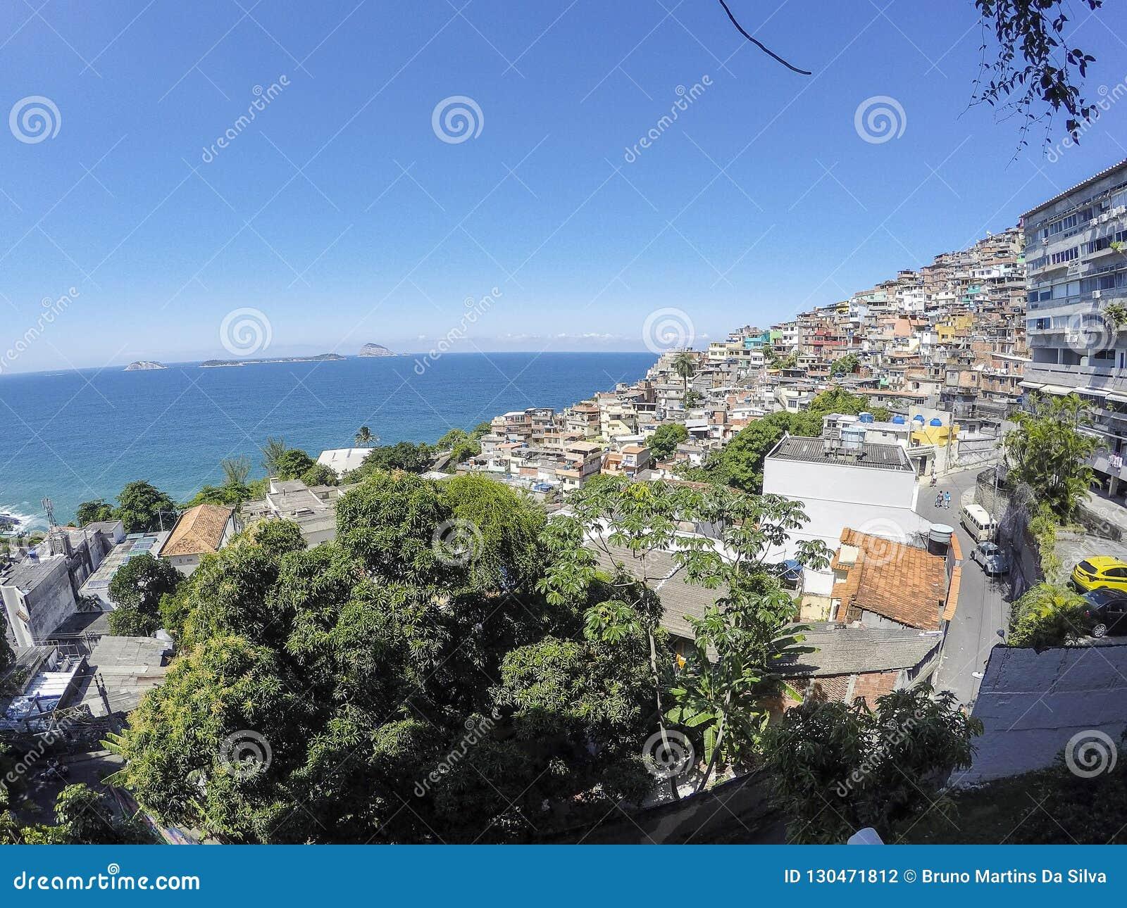Detalles de la colina de Vidigal en Rio de Janeiro
