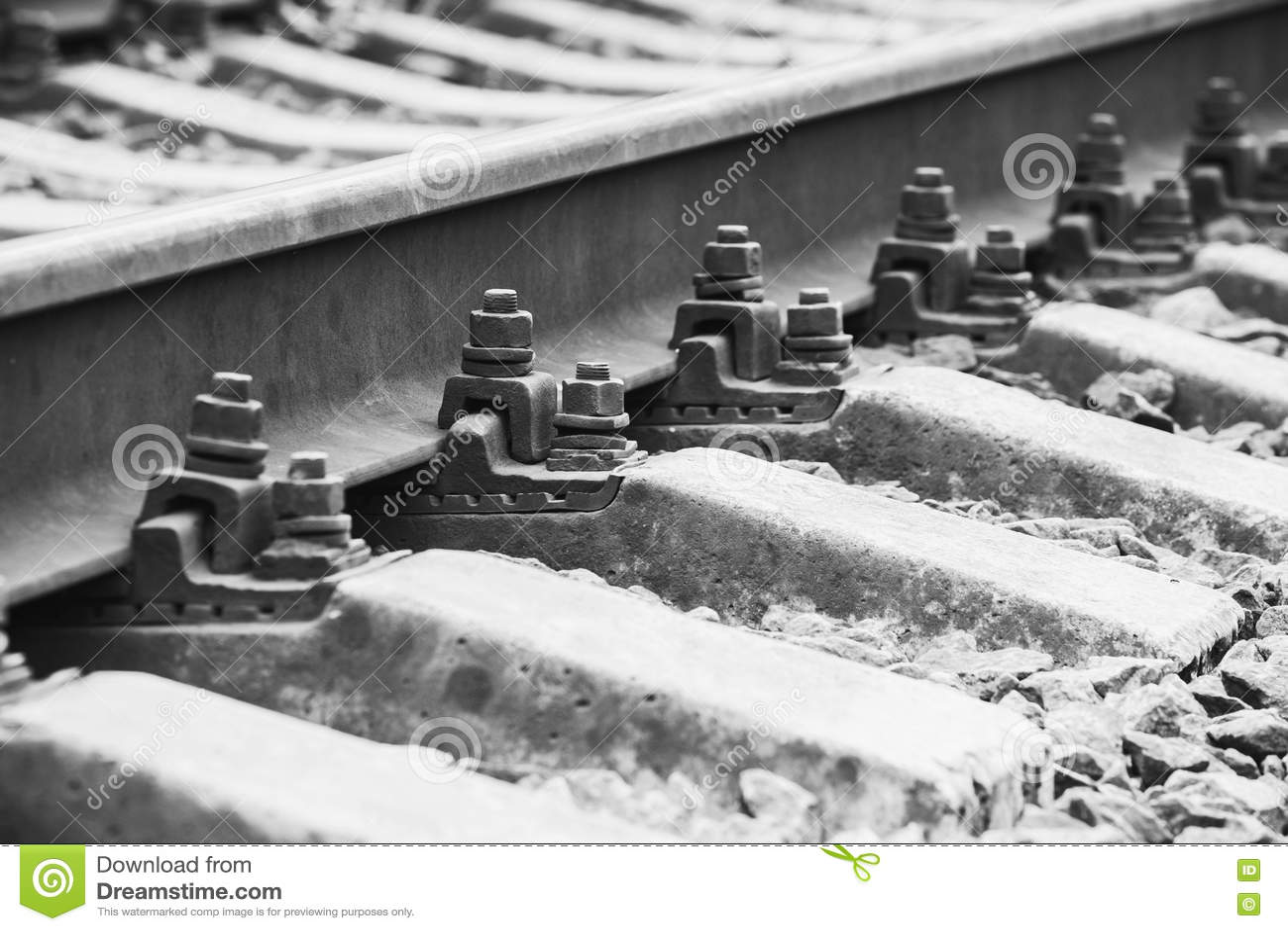 Detalles De La Pista Ferroviaria, Foto Del Primer Foto de archivo
