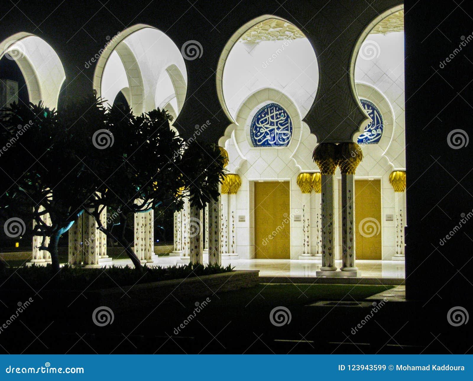 Detalles y arquitectura hermosos de Abu Dhabi Sheik Zayed Mosque con reflexiones en el agua en la noche