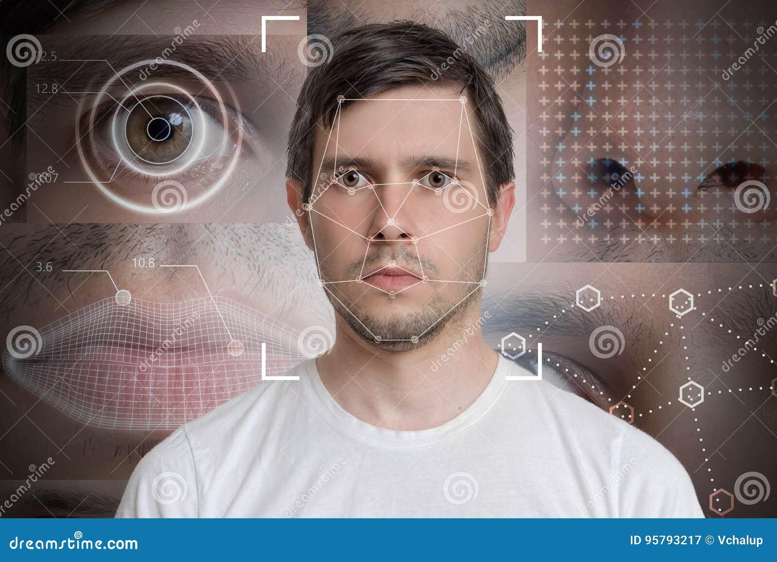 Detecção da cara e reconhecimento do homem Conceito da visão de computador e da aprendizagem de máquina