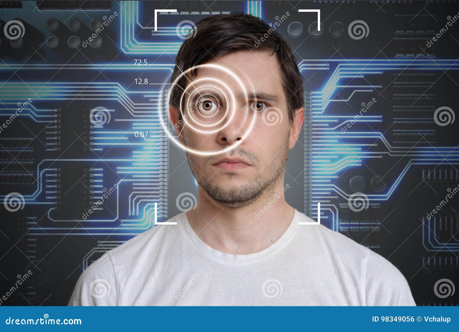 Detección de la cara y reconocimiento del hombre Concepto de la visión de ordenador Circuito electrónico en fondo