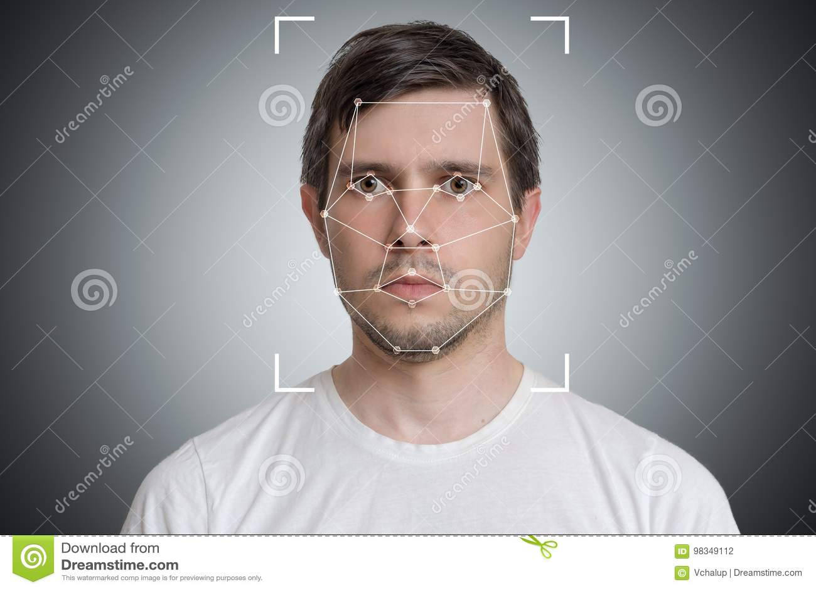 Detección de la cara y reconocimiento del hombre Visión de ordenador y concepto de la inteligencia artificial