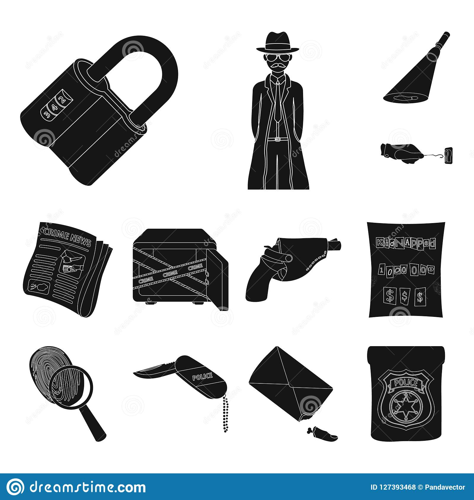 Detective Agency Black Icons In Set Collection For Design  Crime And