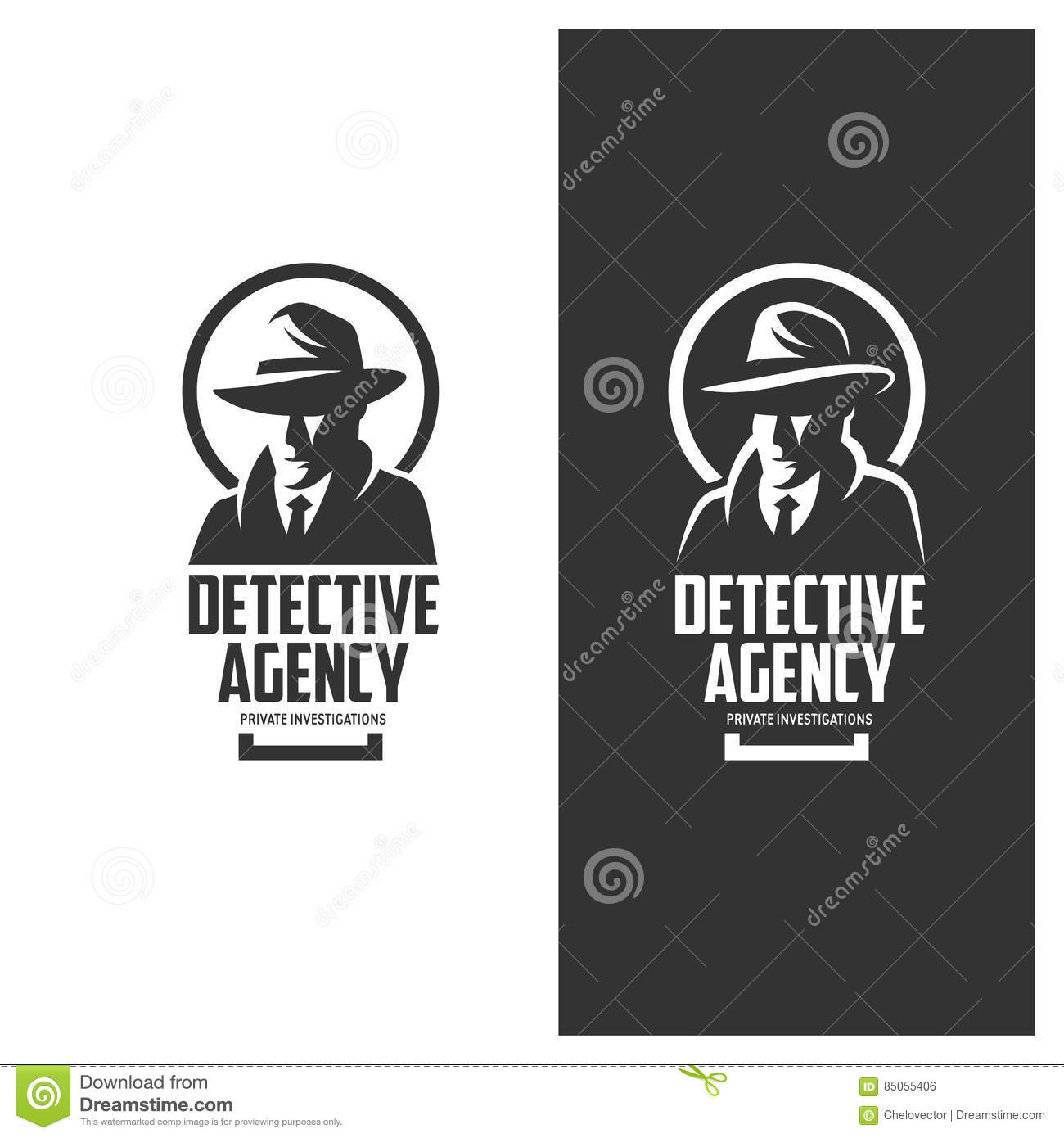 d649aaf927c Detective agency emblem with abstract man head in hat. Vintage vector  illustration.