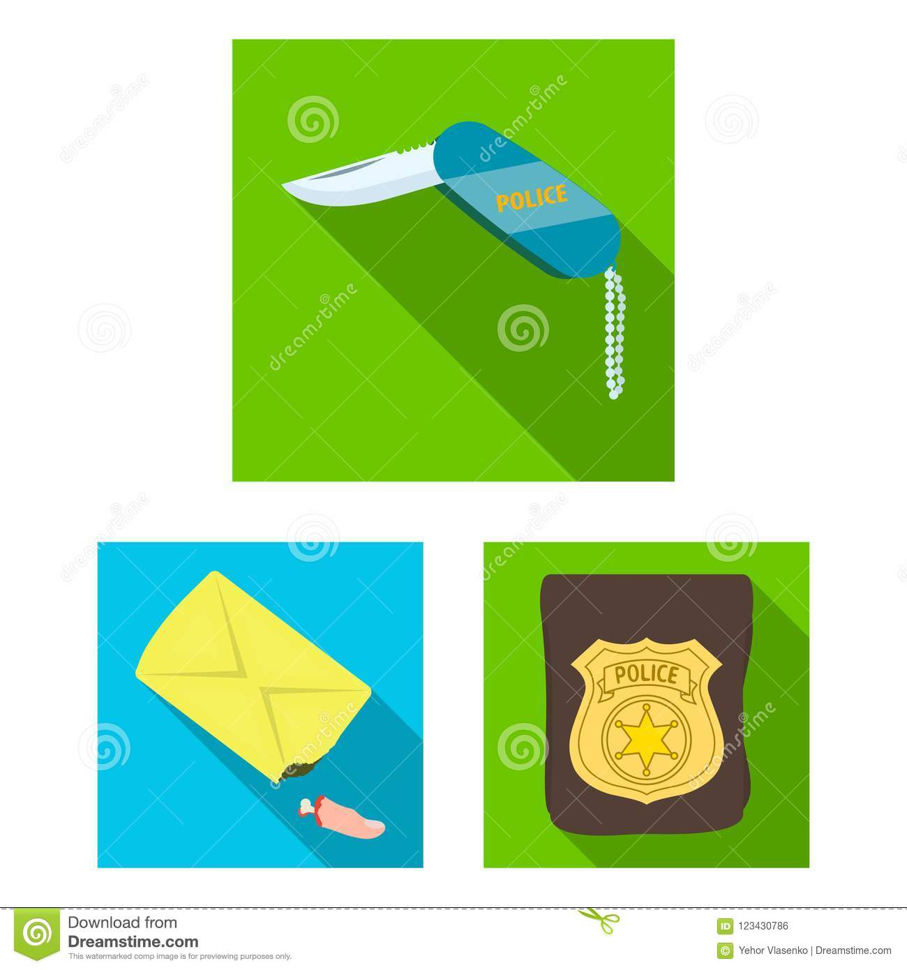 Detective Agency Flat Icons In Set Collection For Design  Crime And