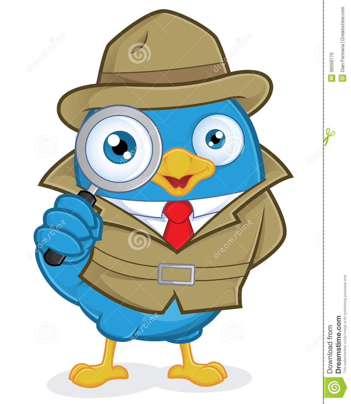 Clipart Picture of a Detective Blue Bird Cartoon Character.