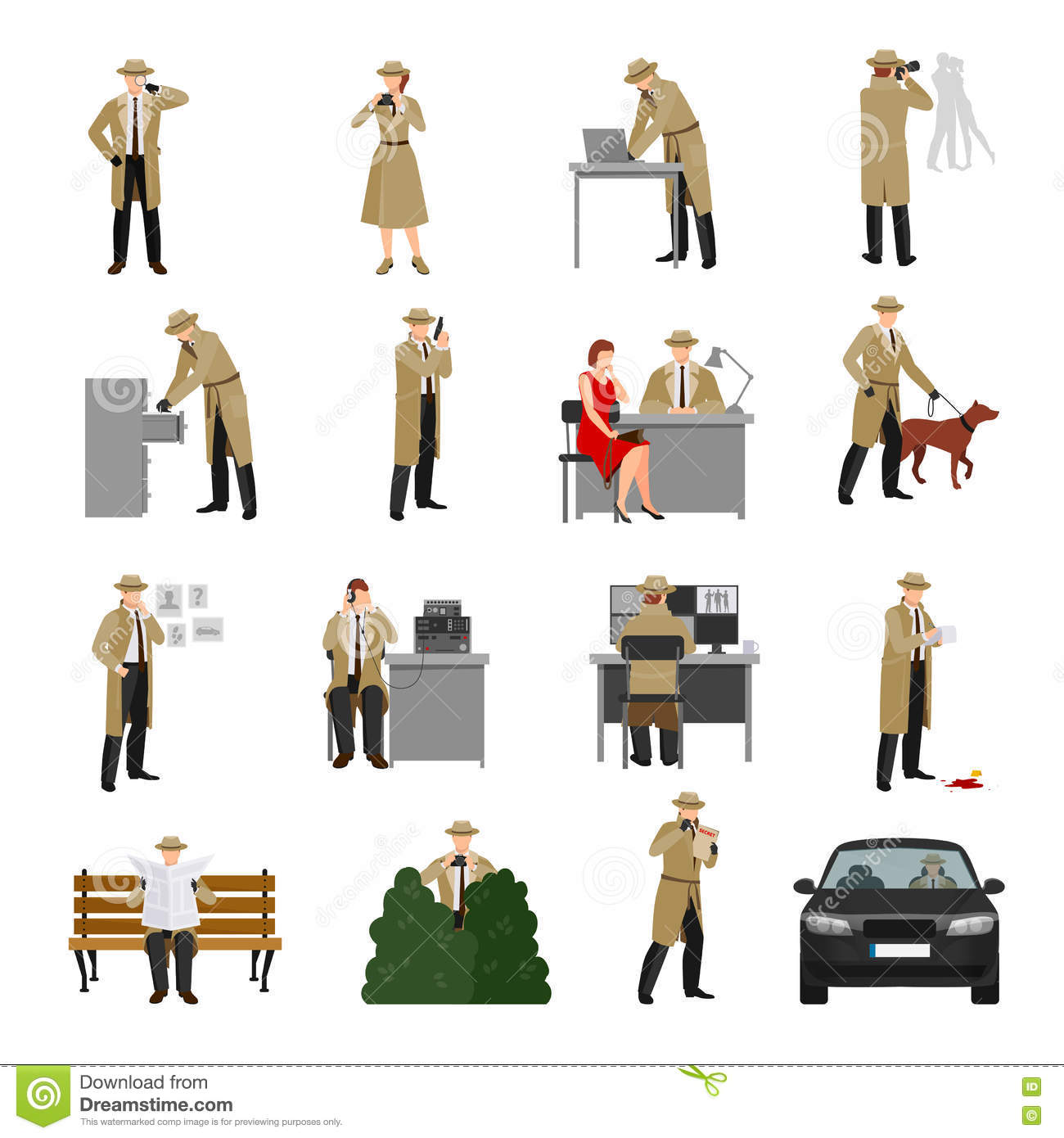 detective characters collection stock vector illustration of