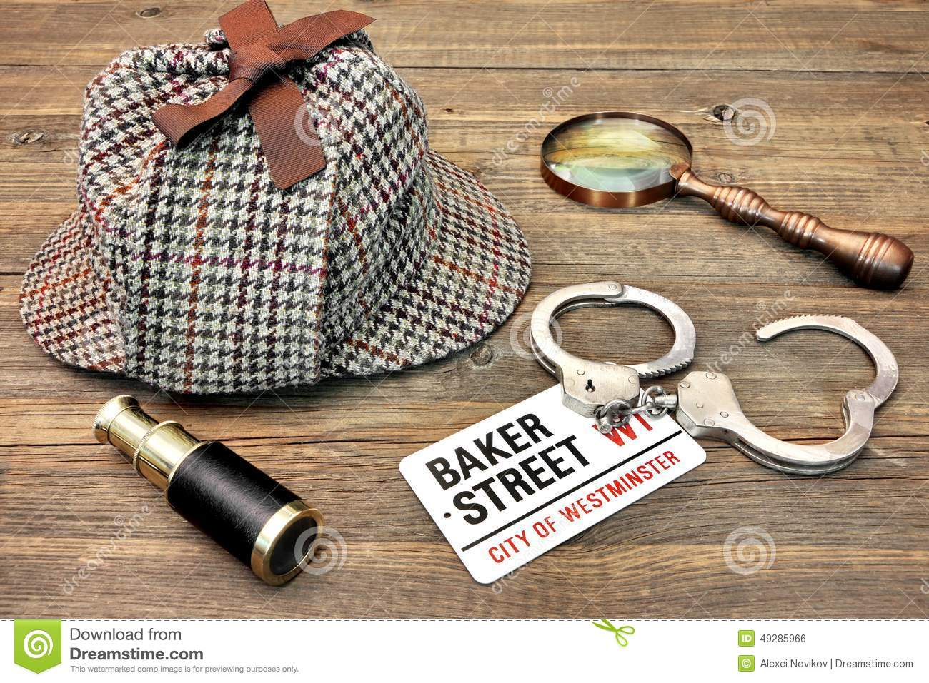 Detective Hat, Spyglass and Magnifier, sign Baker Street and han