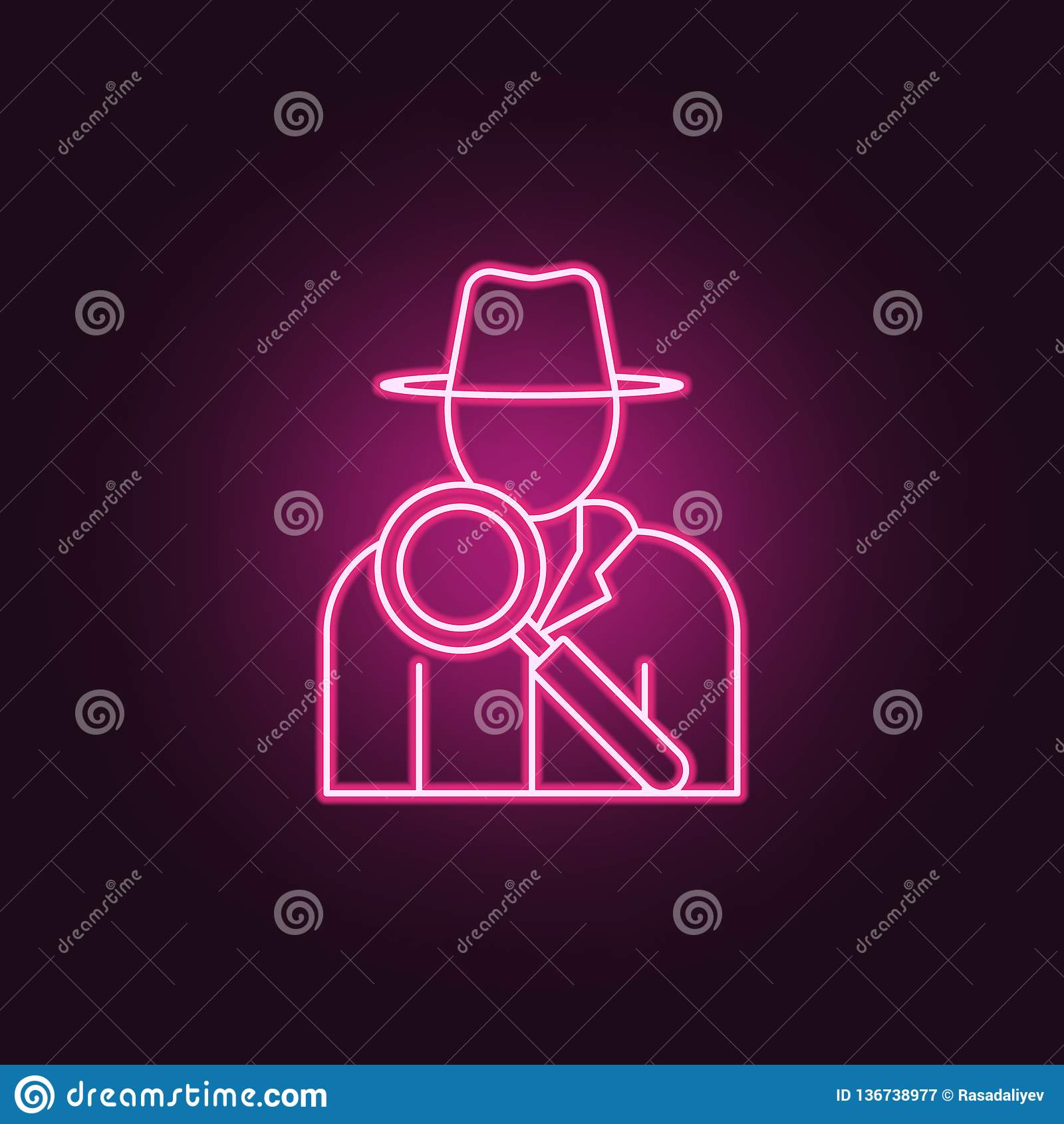 Detective Icon  Elements Of Crime Investigation In Neon Style Icons