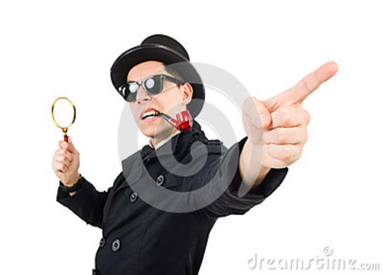Detective joven con el tubo