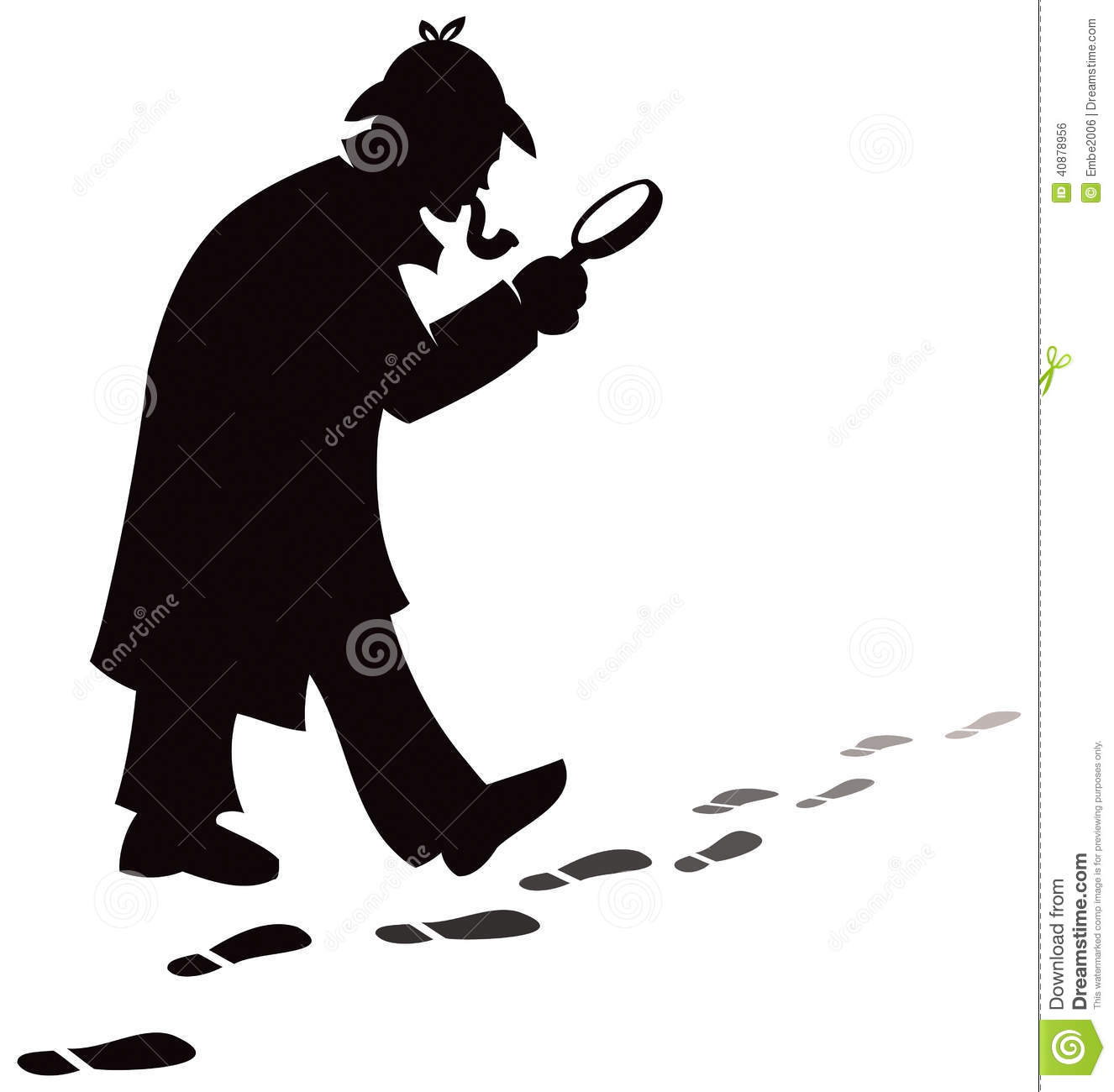 detective investigates and searches for footprints at a crime scene.