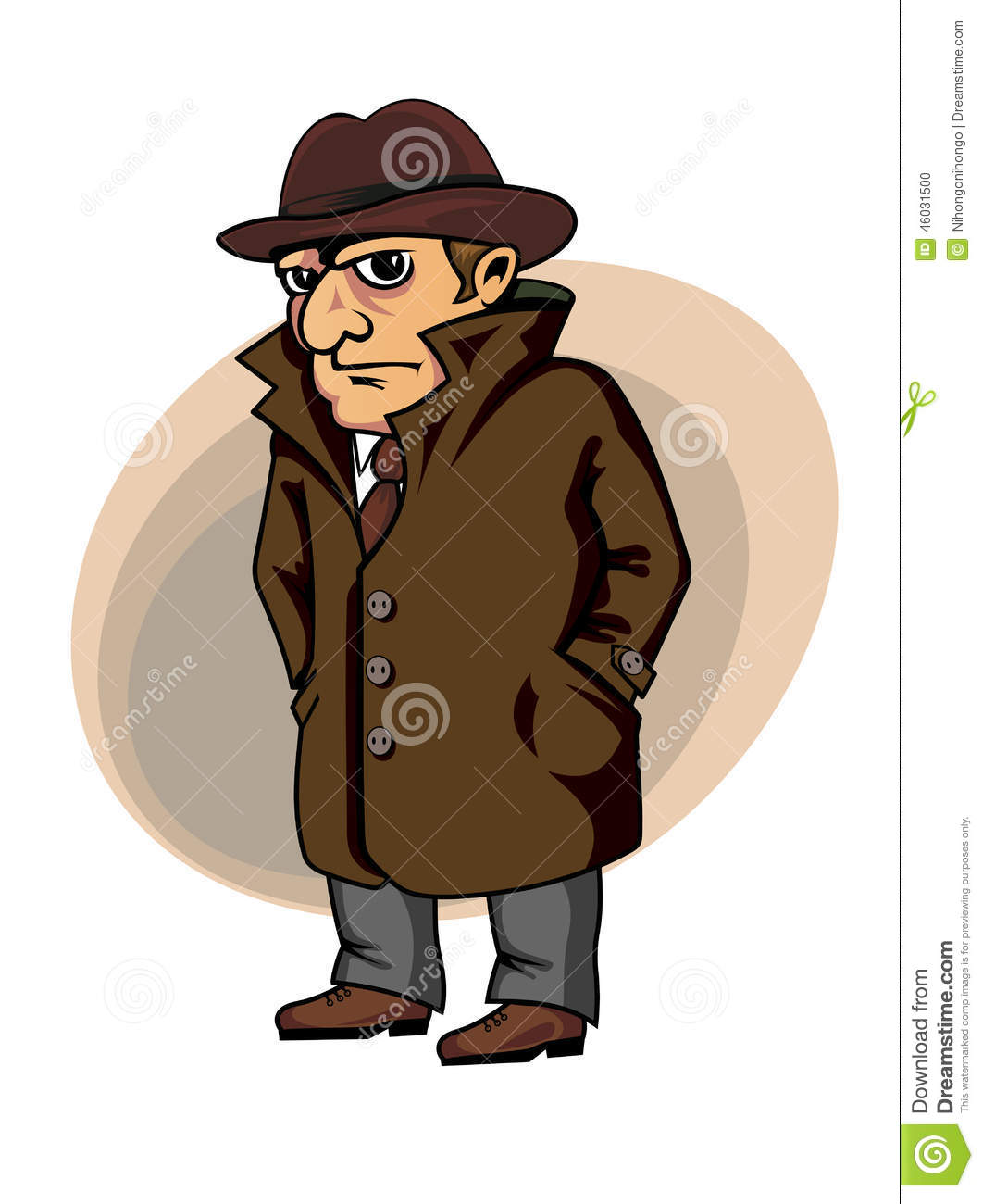 I Spy Cartoon Characters : Detective or spy stock vector image