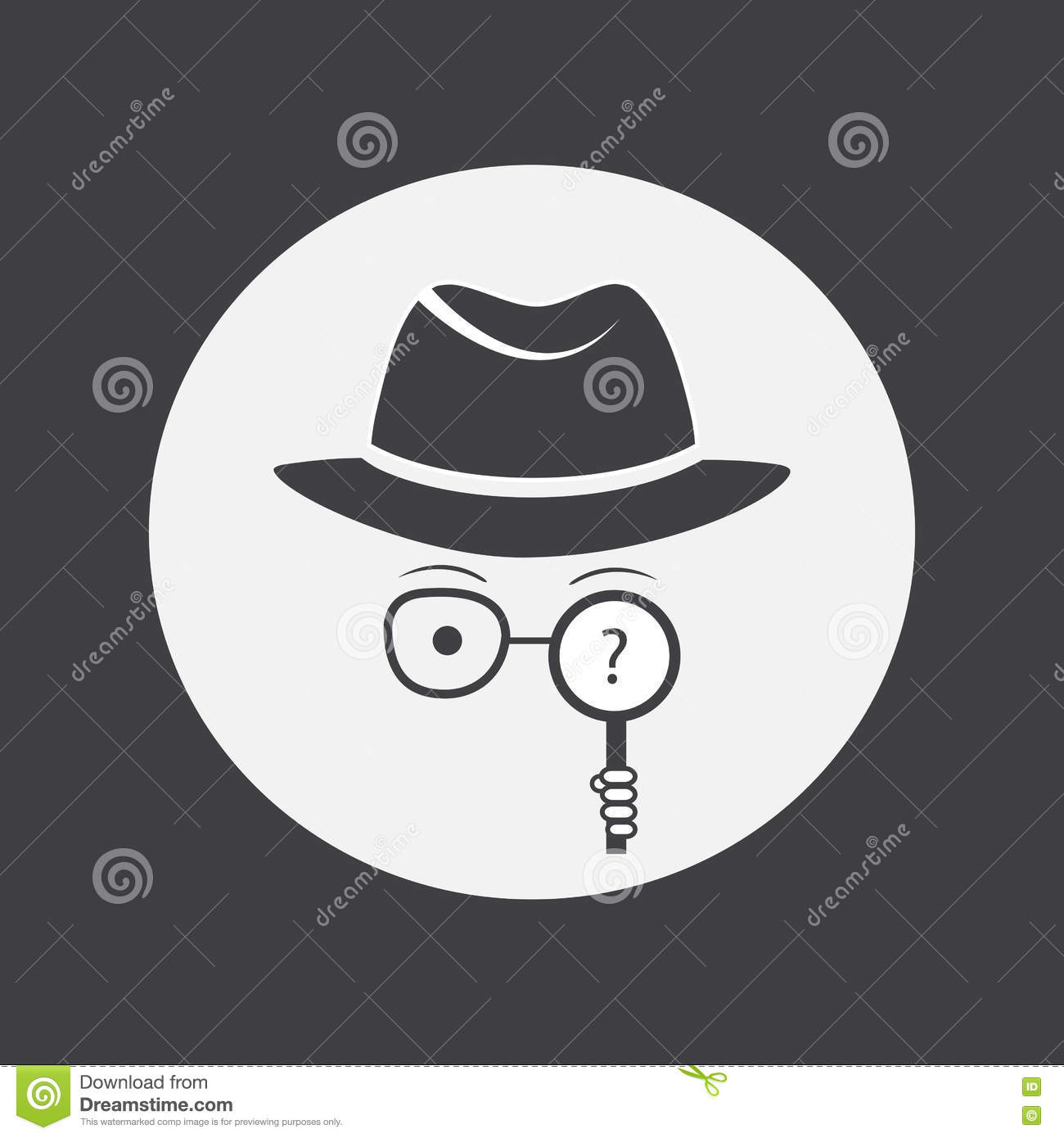 Detective. Spy. Unknown man in hat, glasses and a magnifying glass in hand.