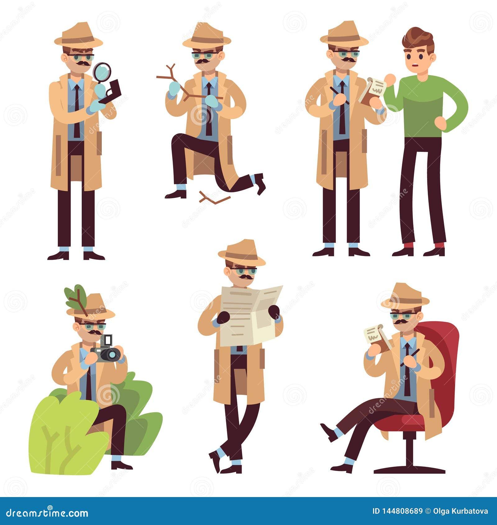 Detectivekarakter Politieinspecteur het kijken de misdaad die de geheimagent fotograferen die van het gevalonderzoek spion oploss