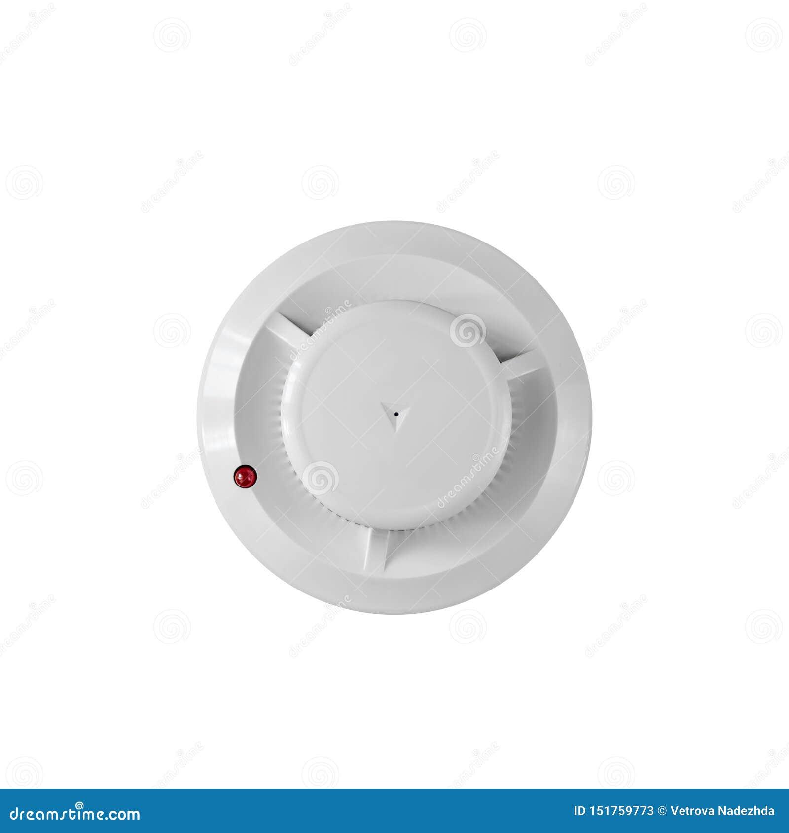 Detector de fumo e detector de fogo em um fundo branco Configuração lisa do alarme de incêndio
