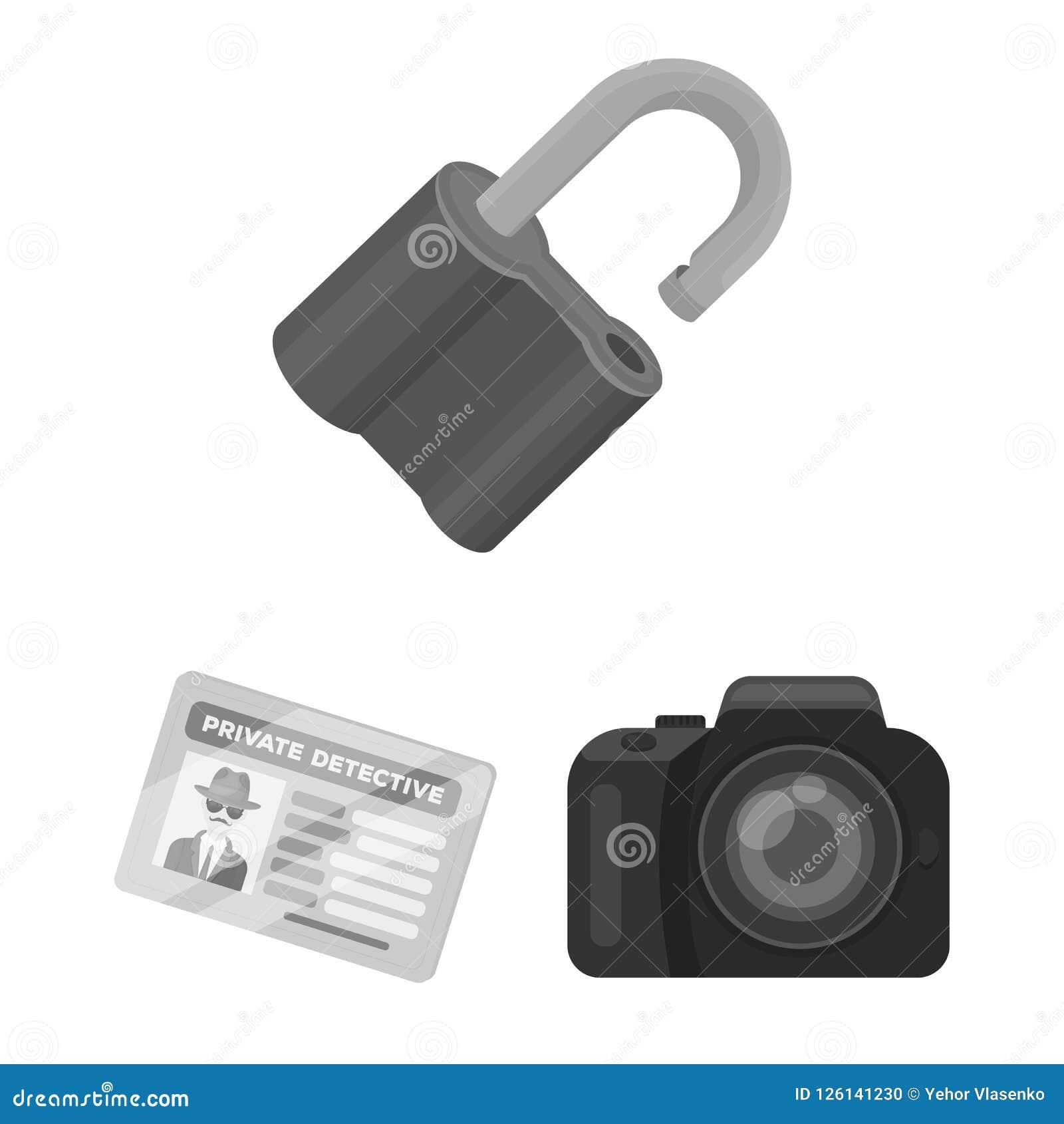 Detektyw i atrybut monochromatyczne ikony w ustalonej kolekci dla projekta Detektywistycznej agenci symbolu zapasu wektorowa sieć