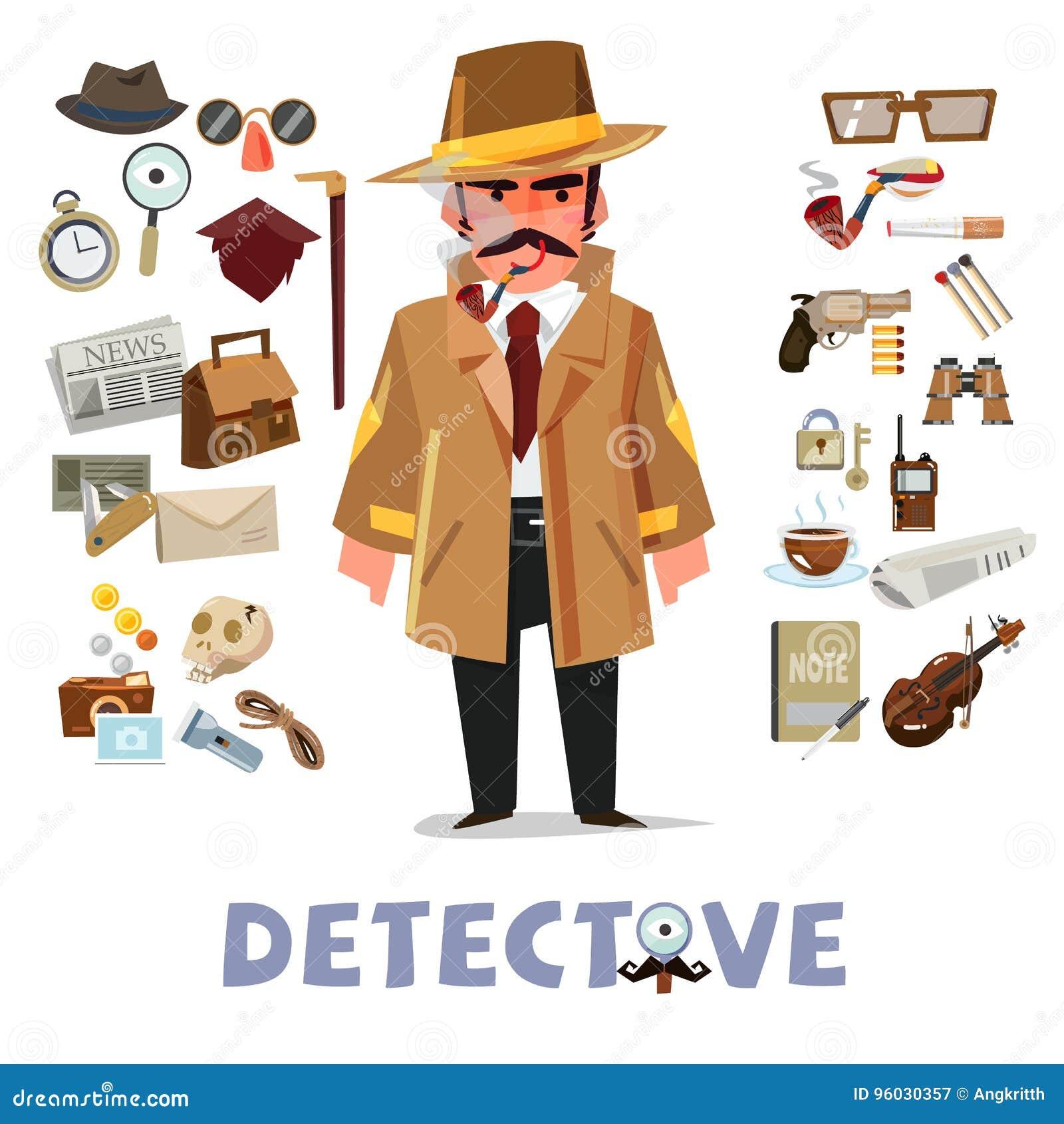 Detektywistyczny charakteru projekt z wyposażeniem ikona ustaleni elementy - v