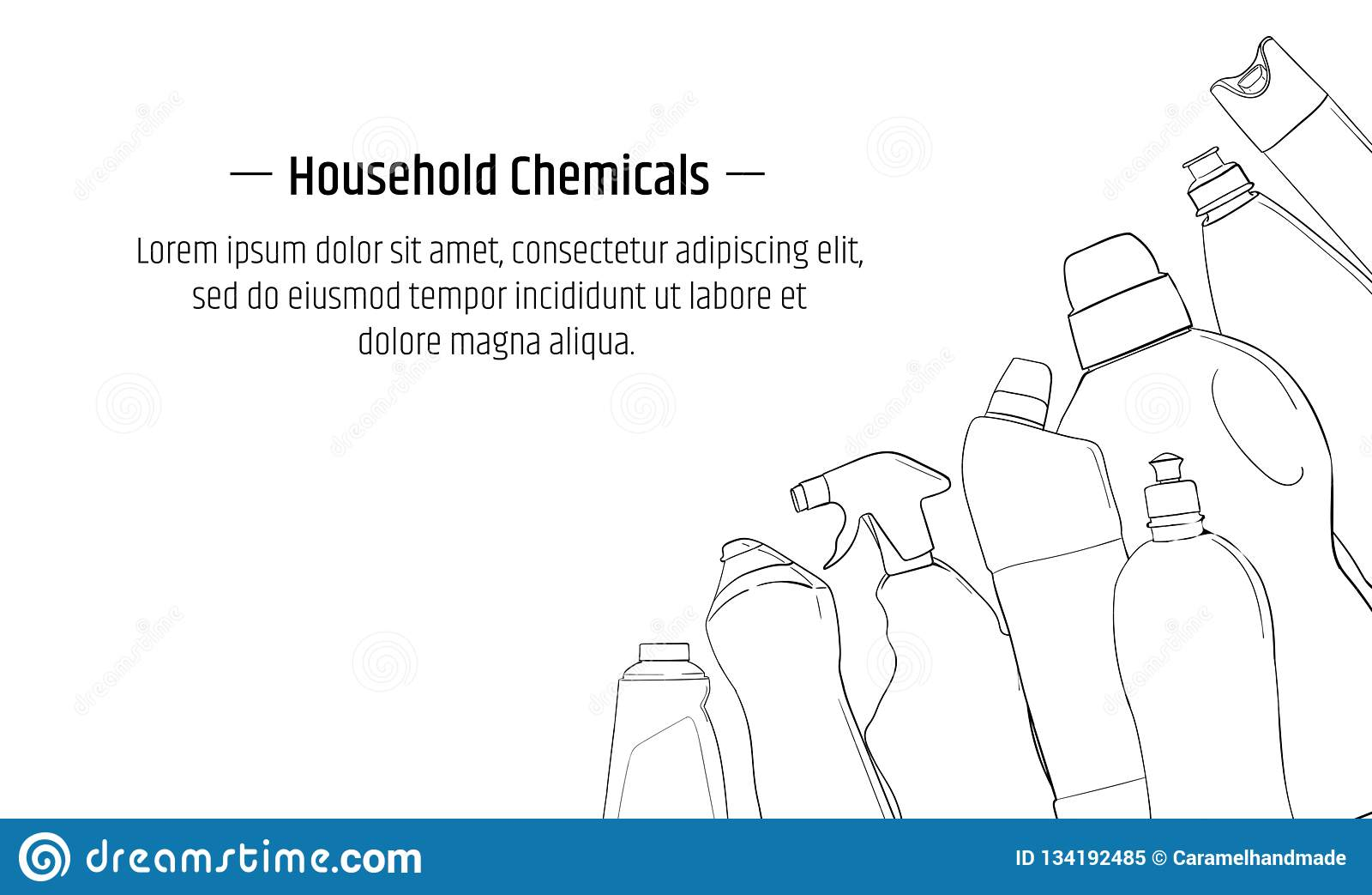 Detergent bottle and chemicals household product banner template.