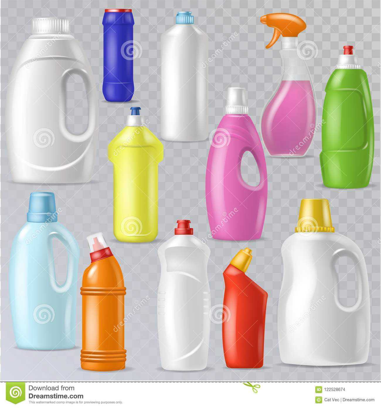 Detergent bottle vector plastic blank container with detergency liquid and mockup household cleaner product for laundry