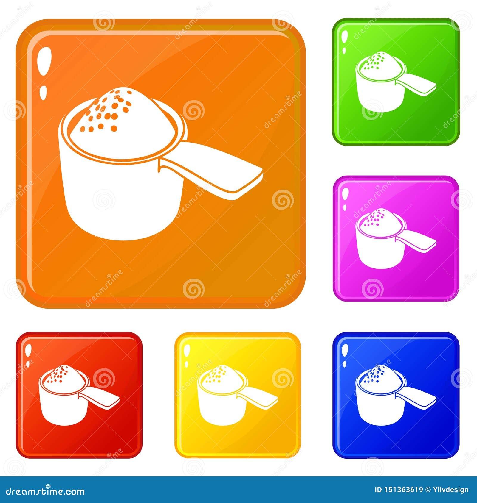 Detergentowe ikony ustawiaj?cy dawka wektorowy kolor