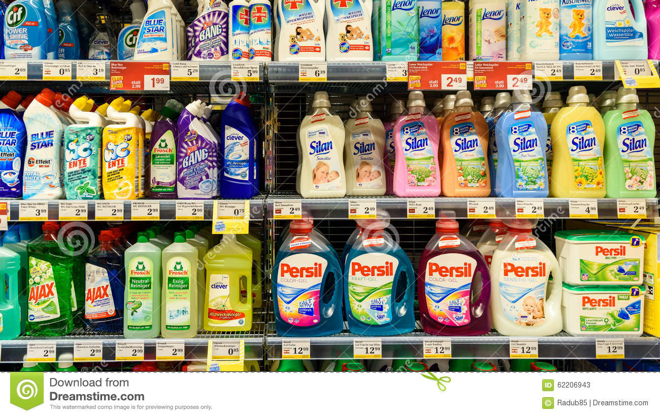 Detergents For Laundry Cleaning On Supermarket Shelf