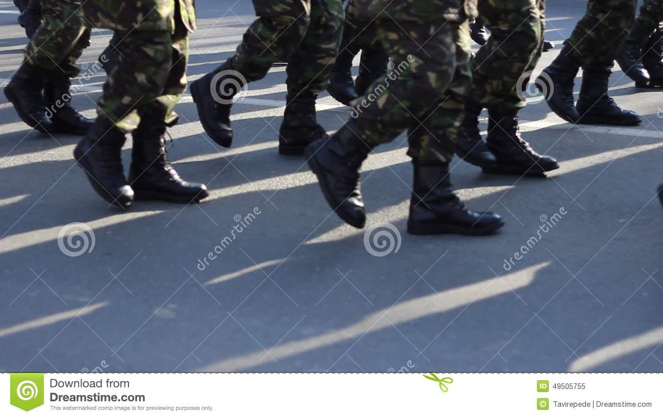 Determined Military Boots March Stock Video - Video of group