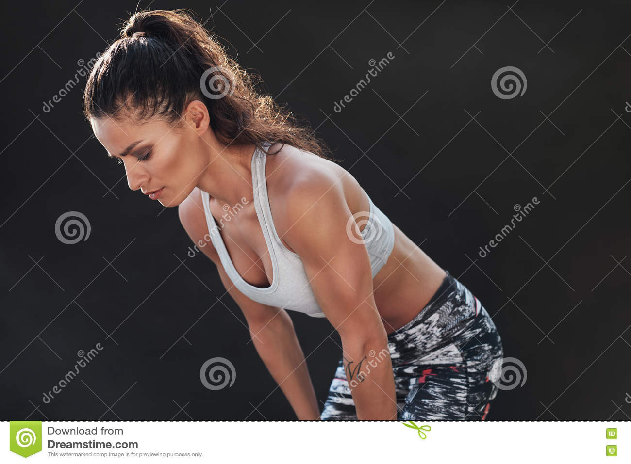 Determined young female fitness model