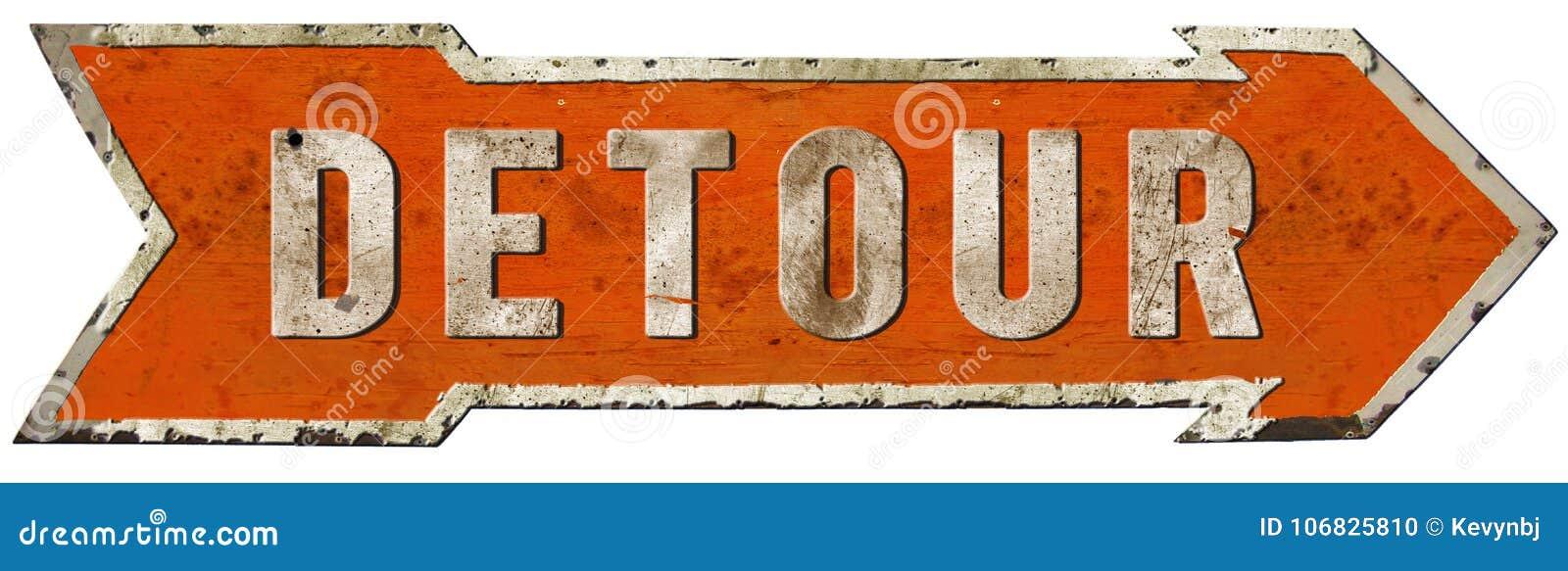 Detour Road Sign Vintage