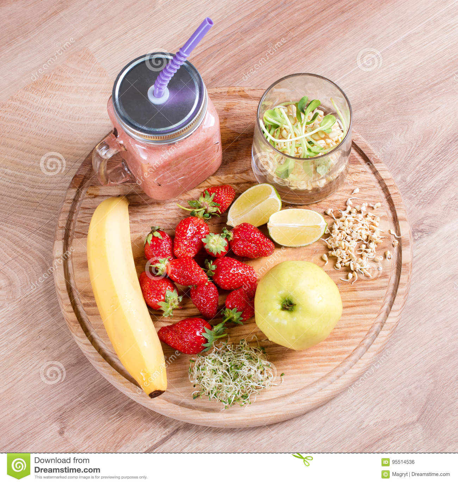 Detox Cleanse Drink, Fruits And Berries Smoothie Ingredients