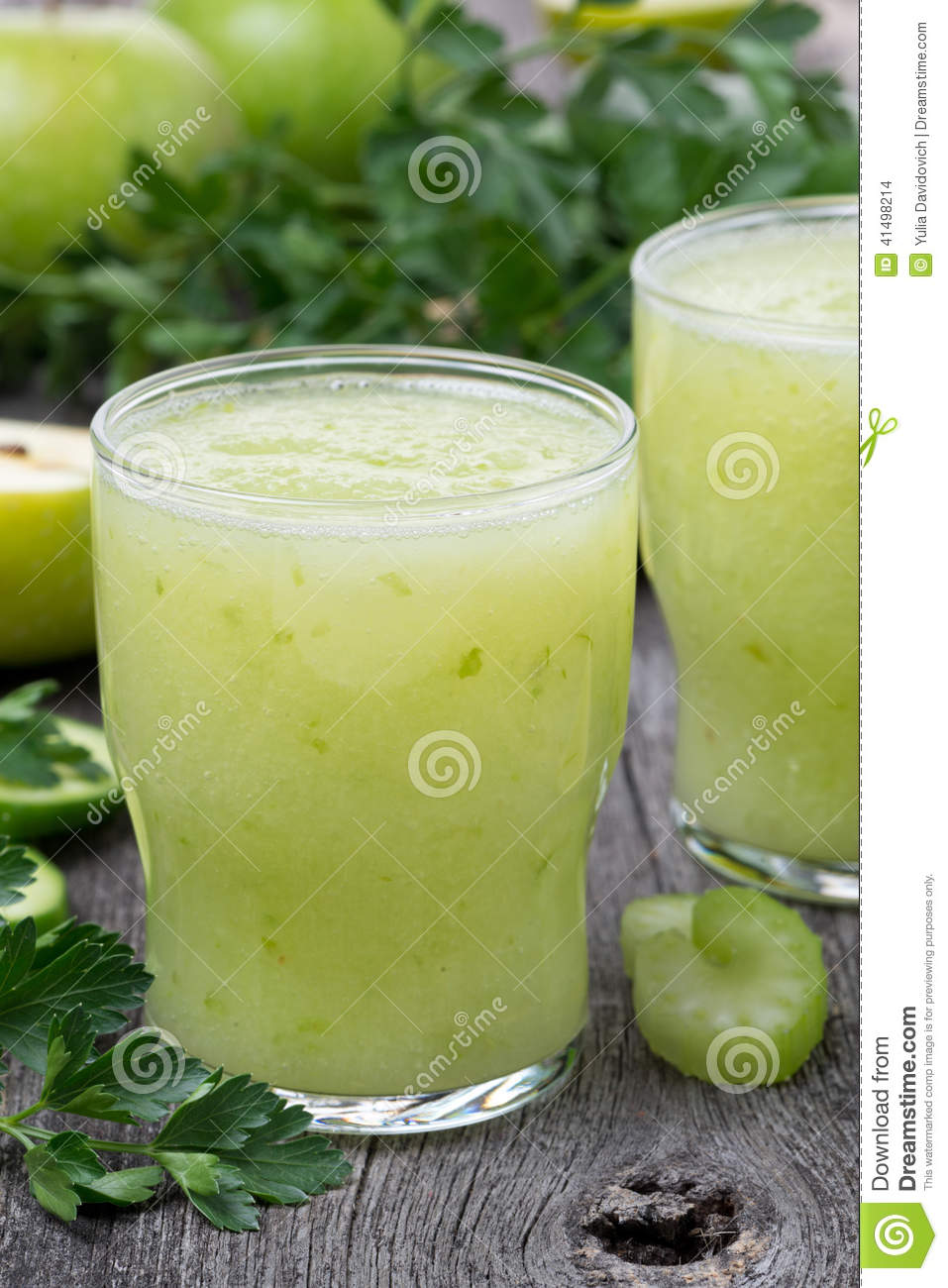 Detox cocktail of green apple celery and lime close up for Cocktail detox