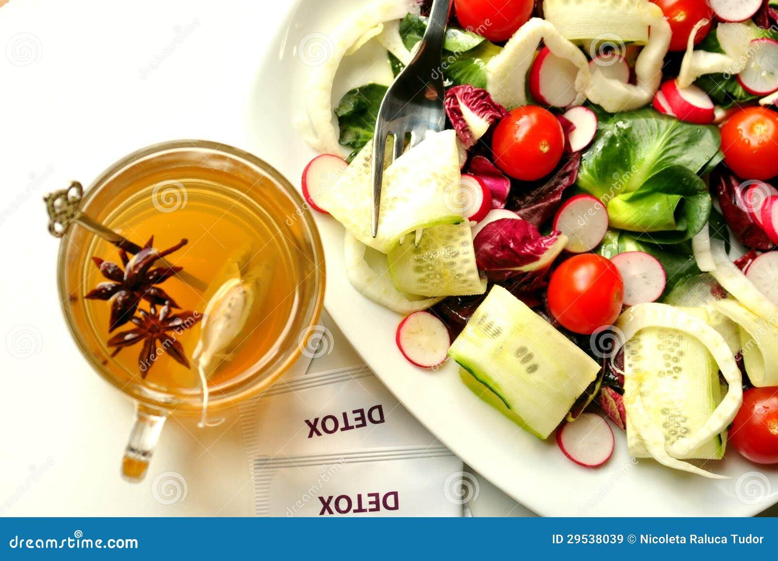 Detox diet with veggie salad and herbal tea