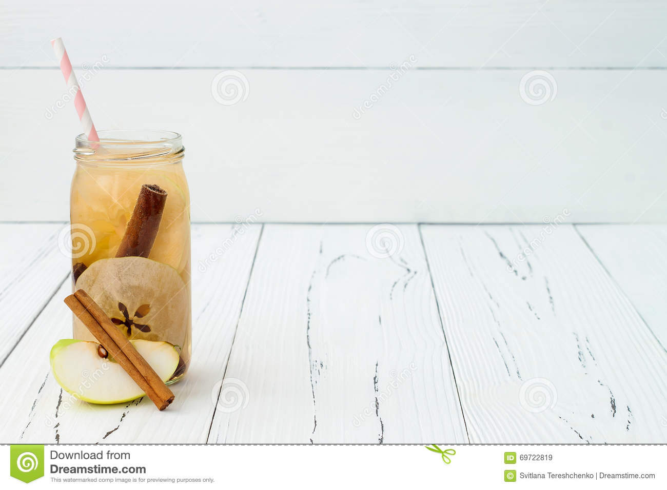 Detox fruit infused flavored water. Refreshing summer homemade cocktail. Clean eating. Copy space background