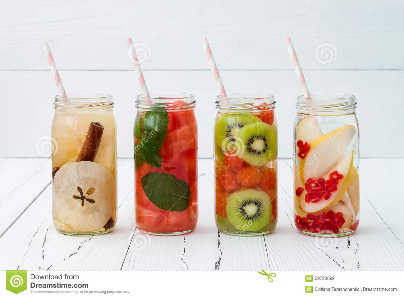 Detox fruit infused flavored water refreshing summer for How to make flavored martinis