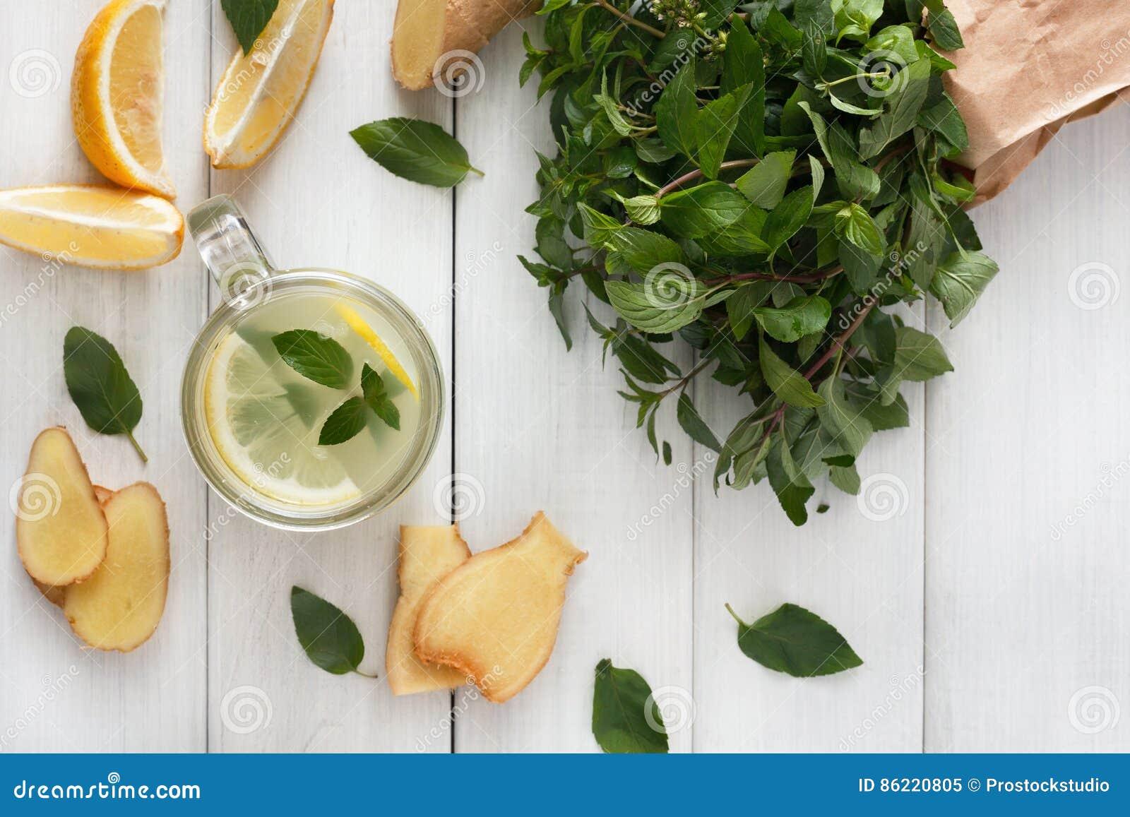 Detox Lemonade Smoothie Ingredients On White Wood Background