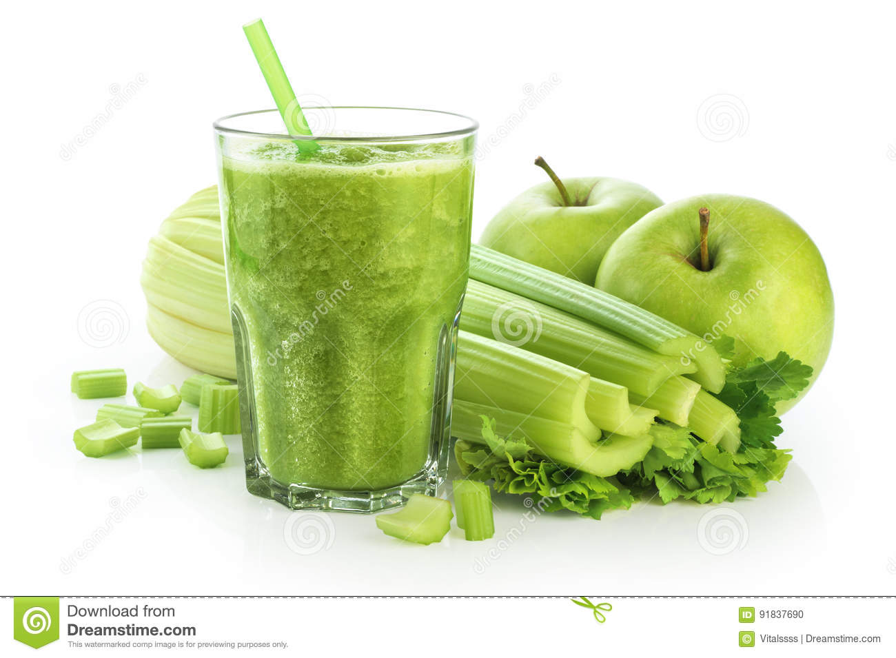 Detox Smoothie With Celery And Apple On A White Background