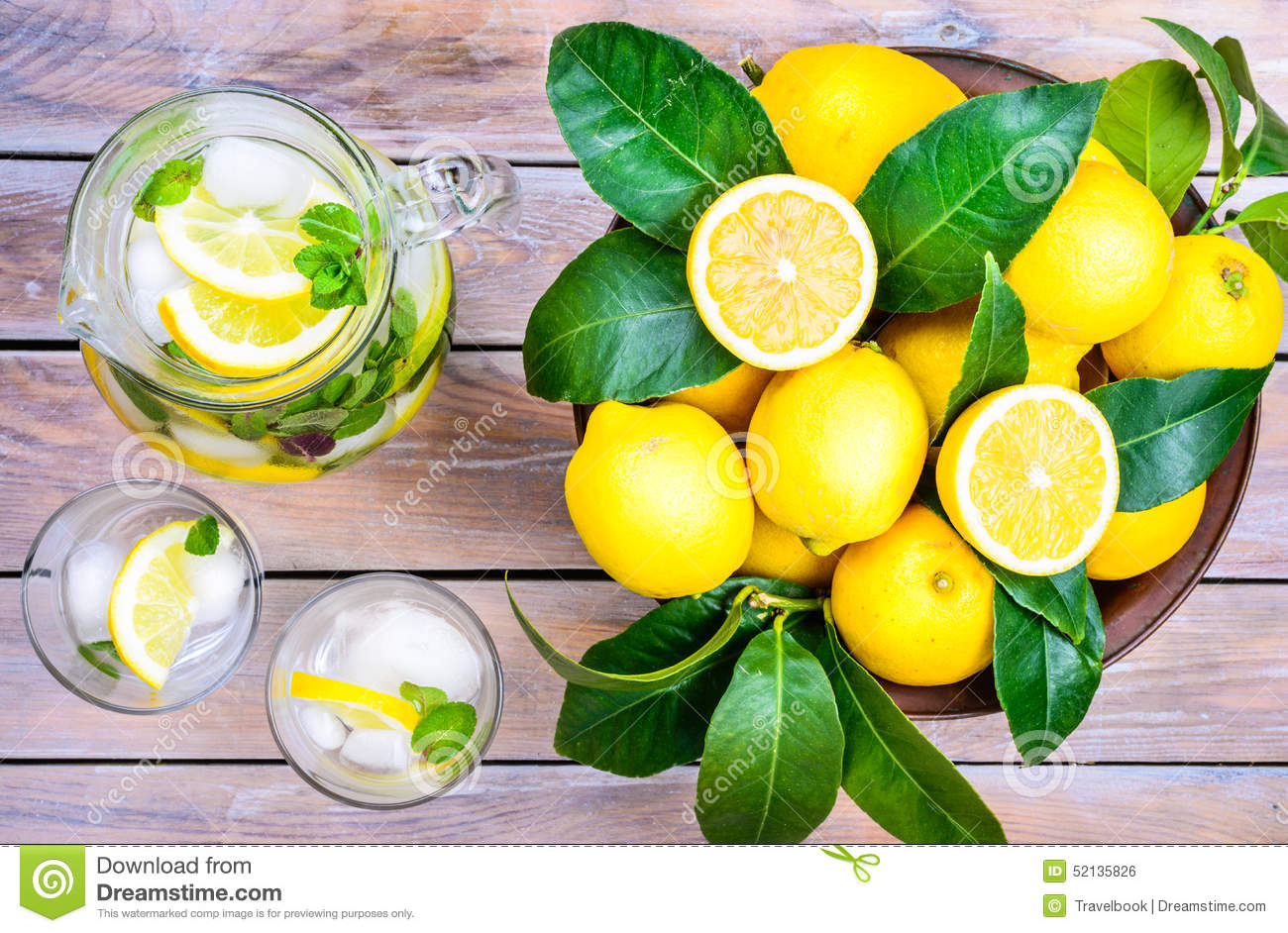 Detox Summer Drink With Lemon And Mint Stock Photo