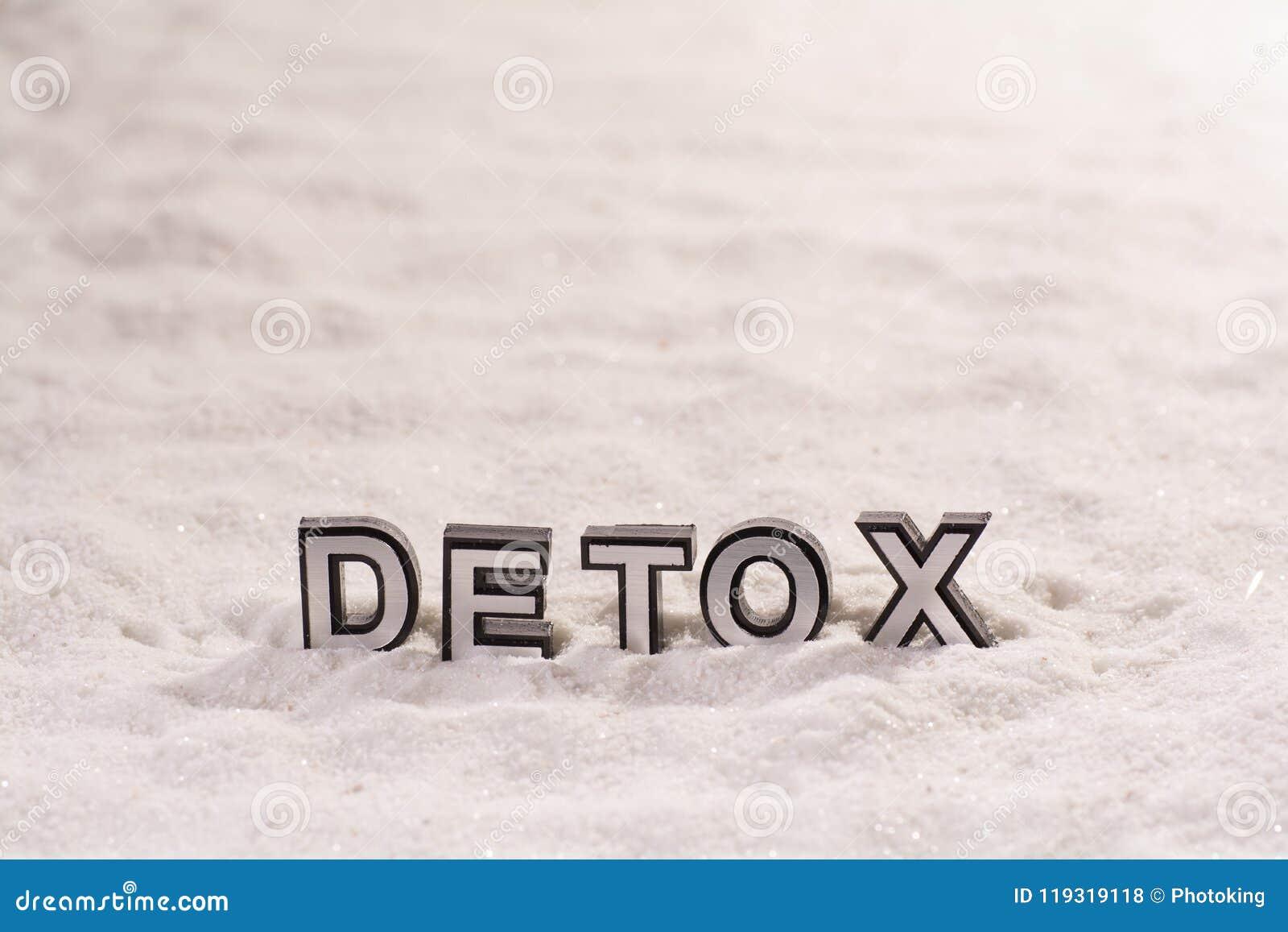 Detoxord på vit sand