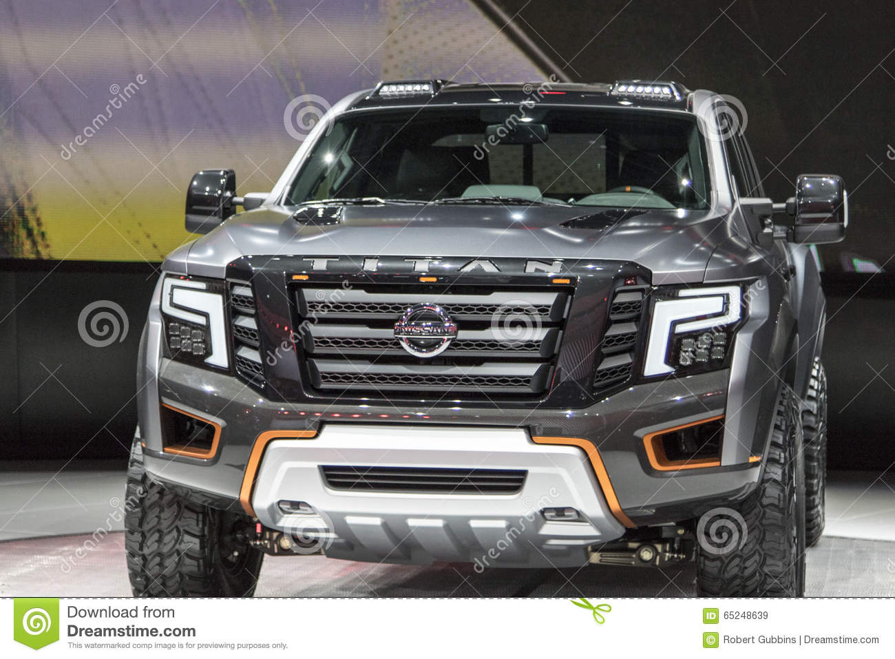 detroit 17 de janeiro o caminh o 2017 de nissan titan pickup no imagem de stock editorial. Black Bedroom Furniture Sets. Home Design Ideas