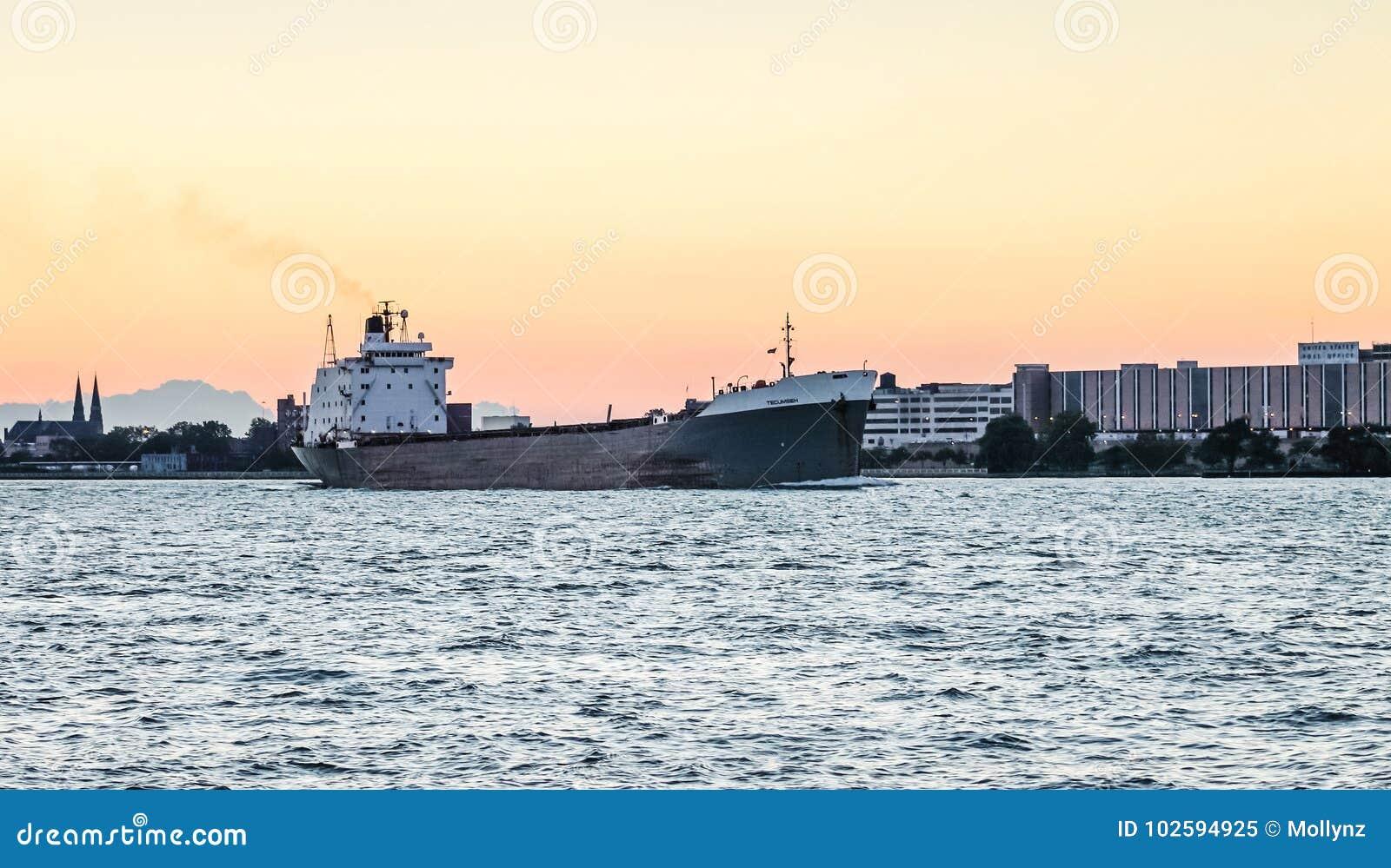The TECUMSEH Bulk Carrier ship on the Detroit River
