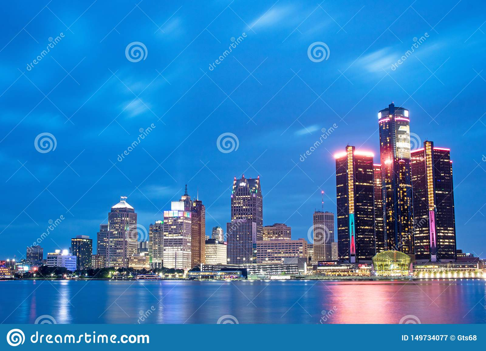 Detroit, Michigan Downtown Skyline At Blue Hour