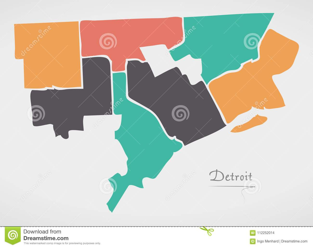 Detroit Michigan Map With Neighborhoods And Modern Round Shapes