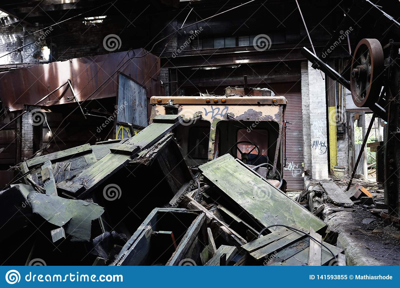 Detroit, Michigan, United States - October 18 2018: View of the abandoned Gray Iron Factory in Detroit. Detroit Gray