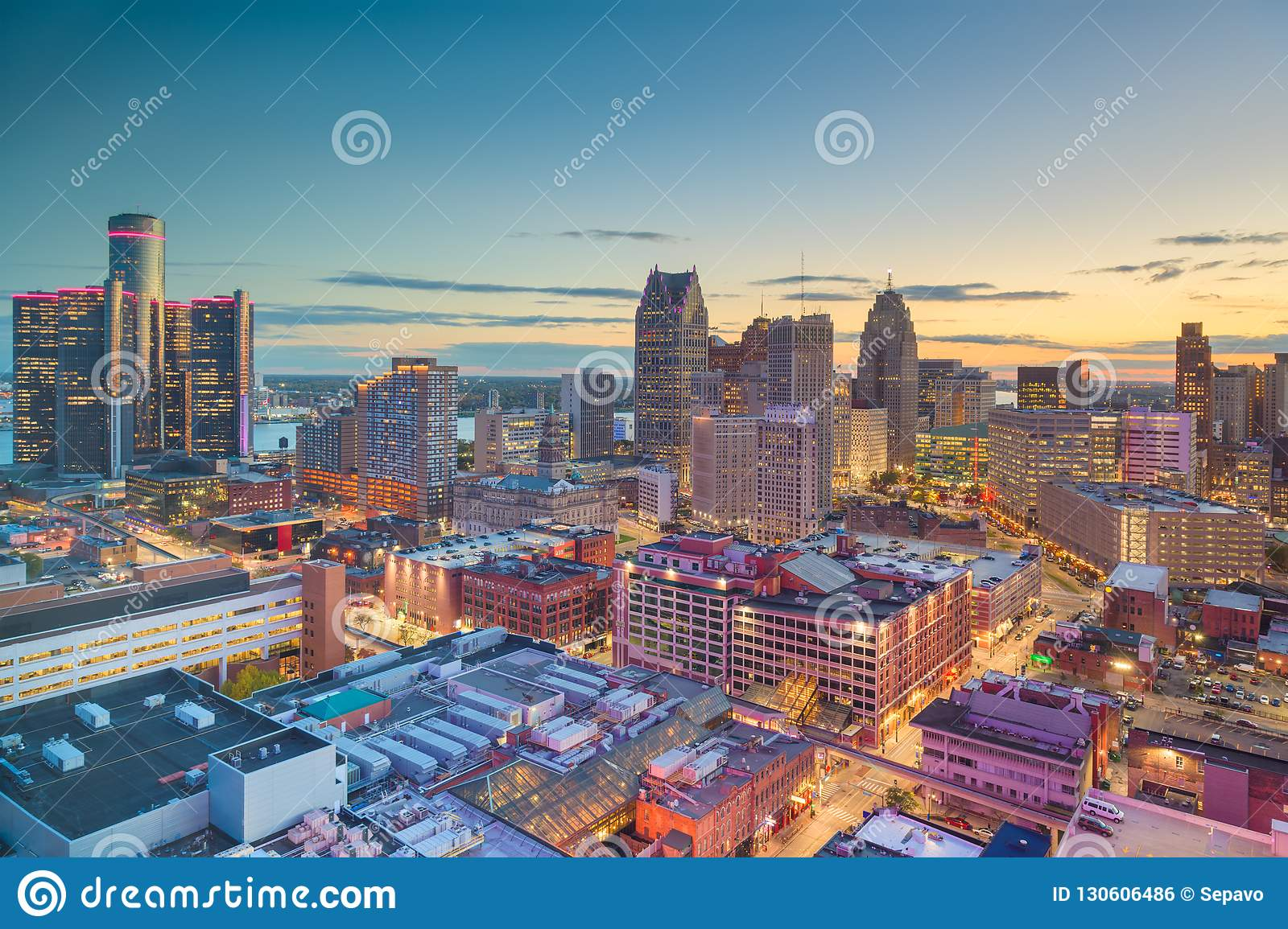 detroit michigan usa downtown skyline at dusk stock photo image of aerial architecture 130606486 https www dreamstime com detroit michigan usa downtown skyline dusk above image130606486