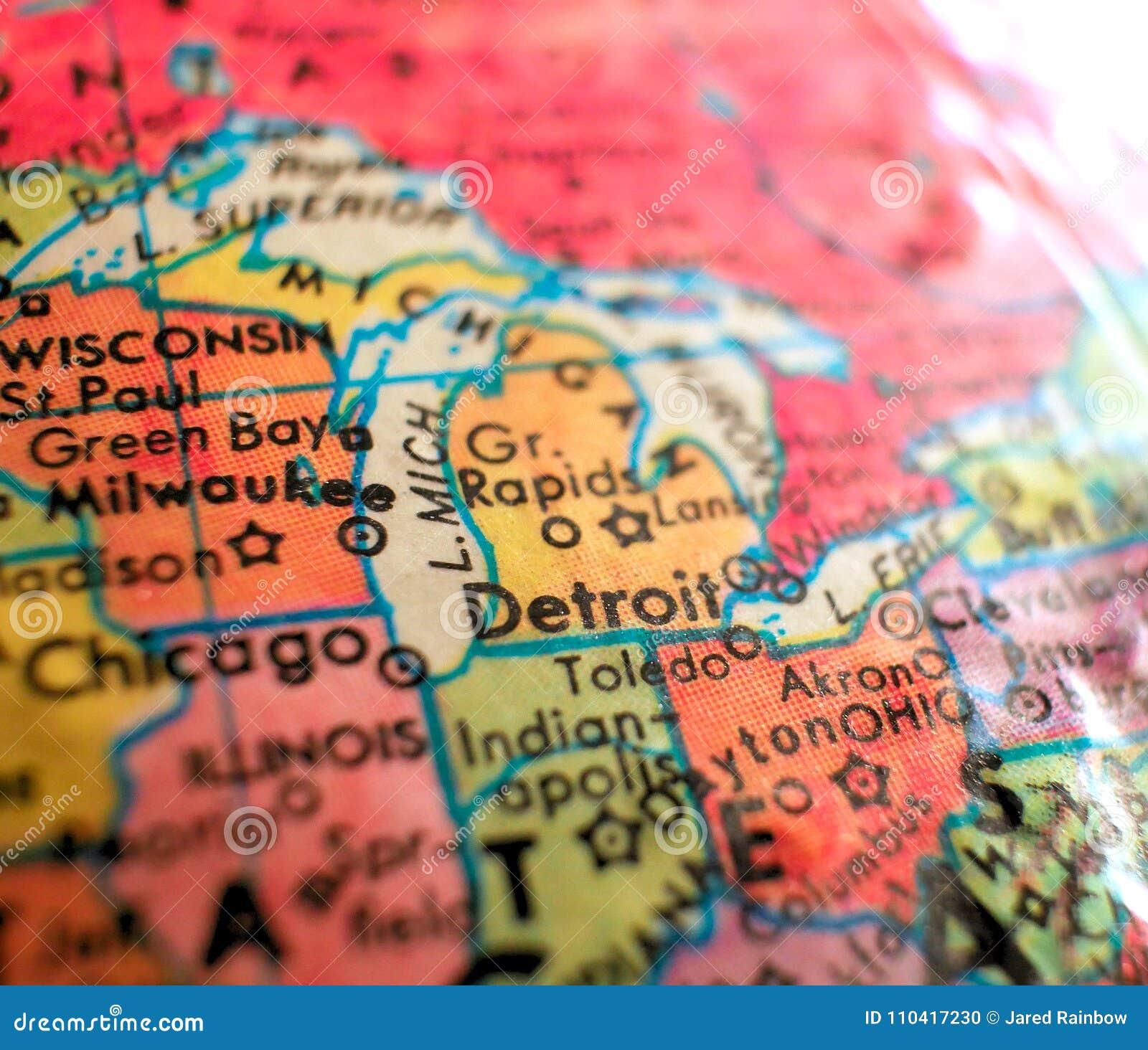 Detroit In Usa Map.Detroit Michigan Usa Focus Macro Shot On Globe Map For Travel Blogs