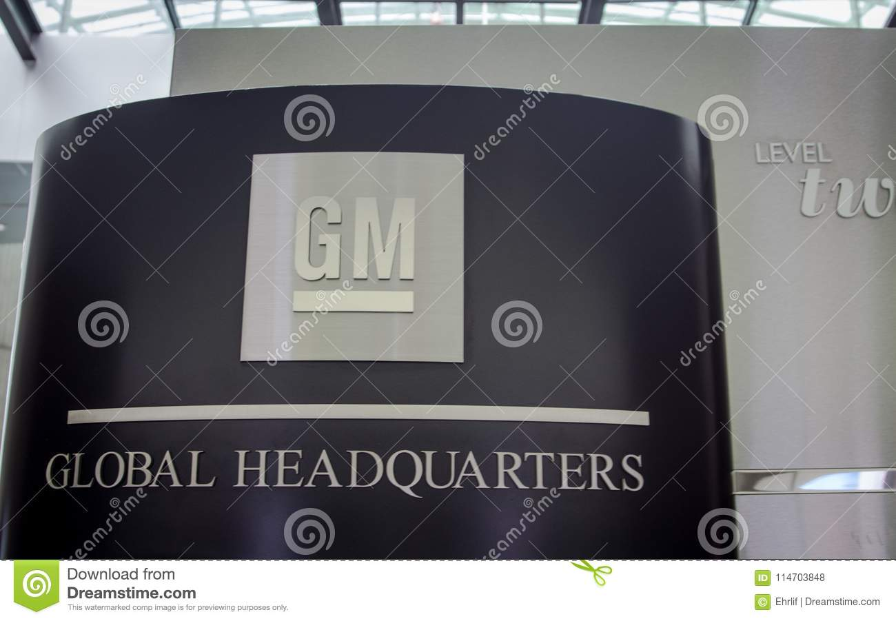 General Motors Global Headquarters Sign And Emblem Editorial Stock