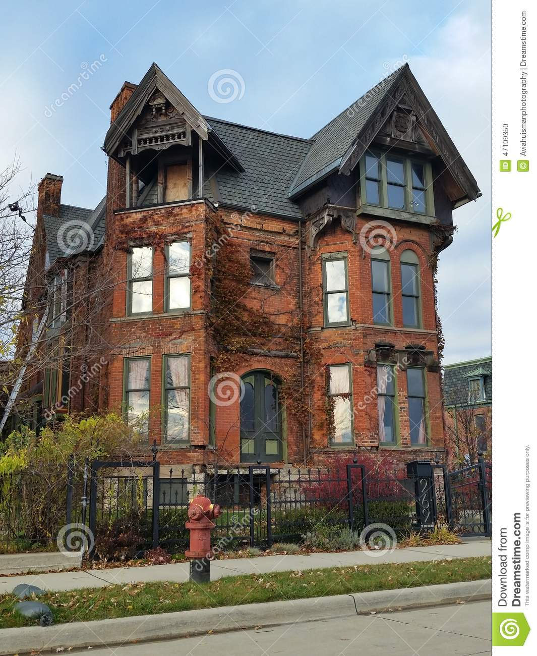 Detroit Old Brick Victorian Home Editorial Image