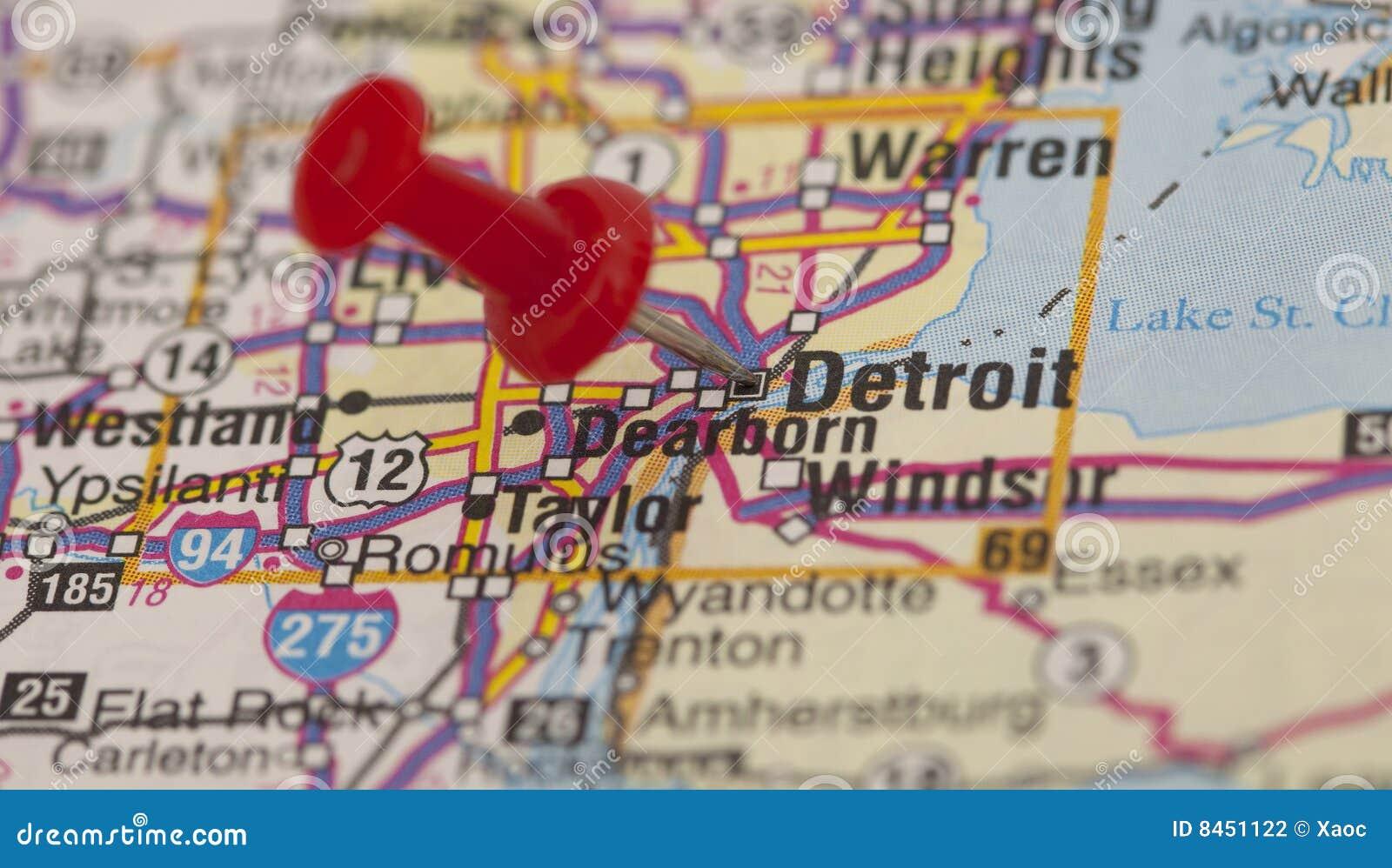 Detroit stift som pekar pushred