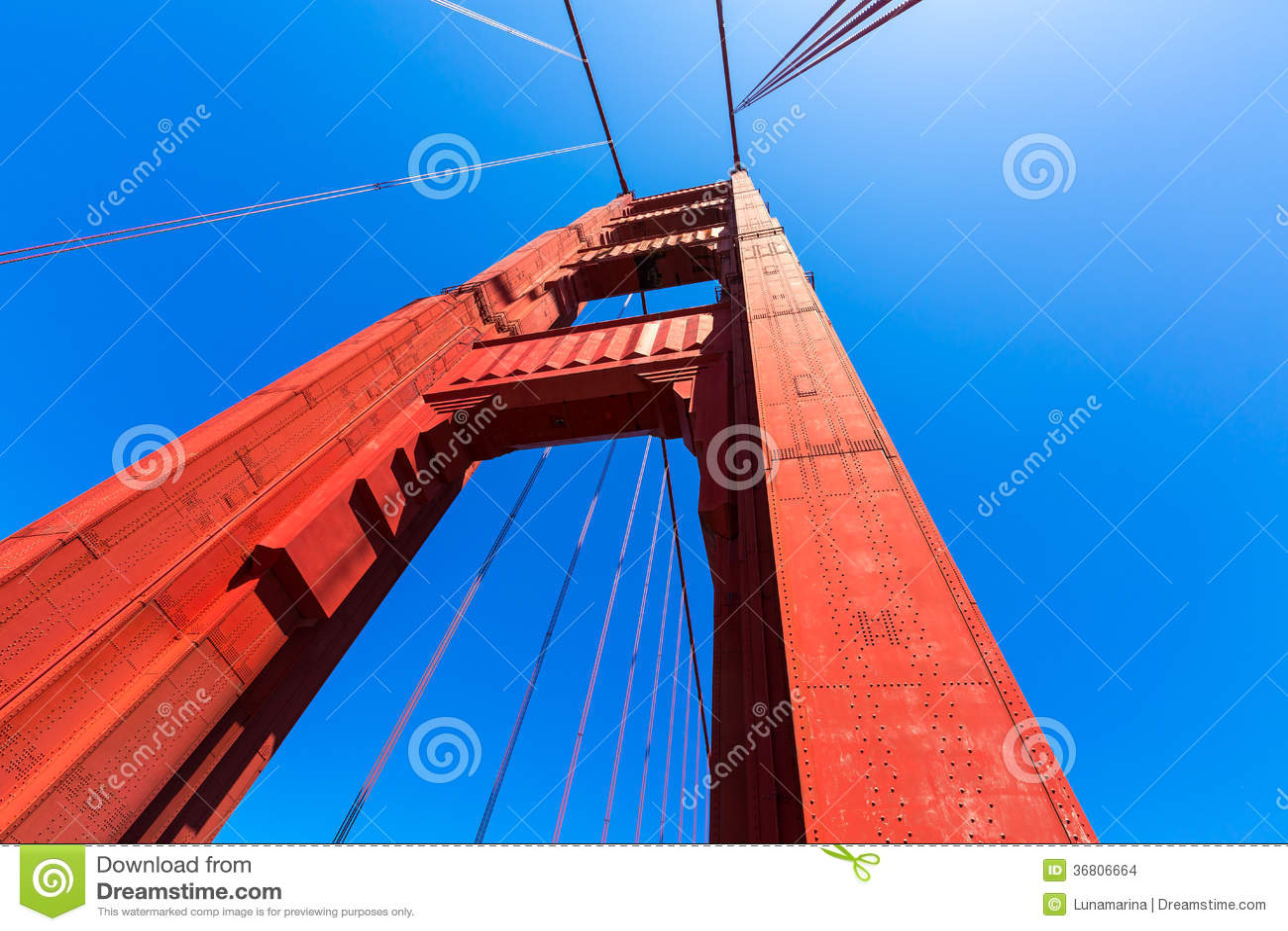 Dettagli di golden gate bridge in San Francisco California